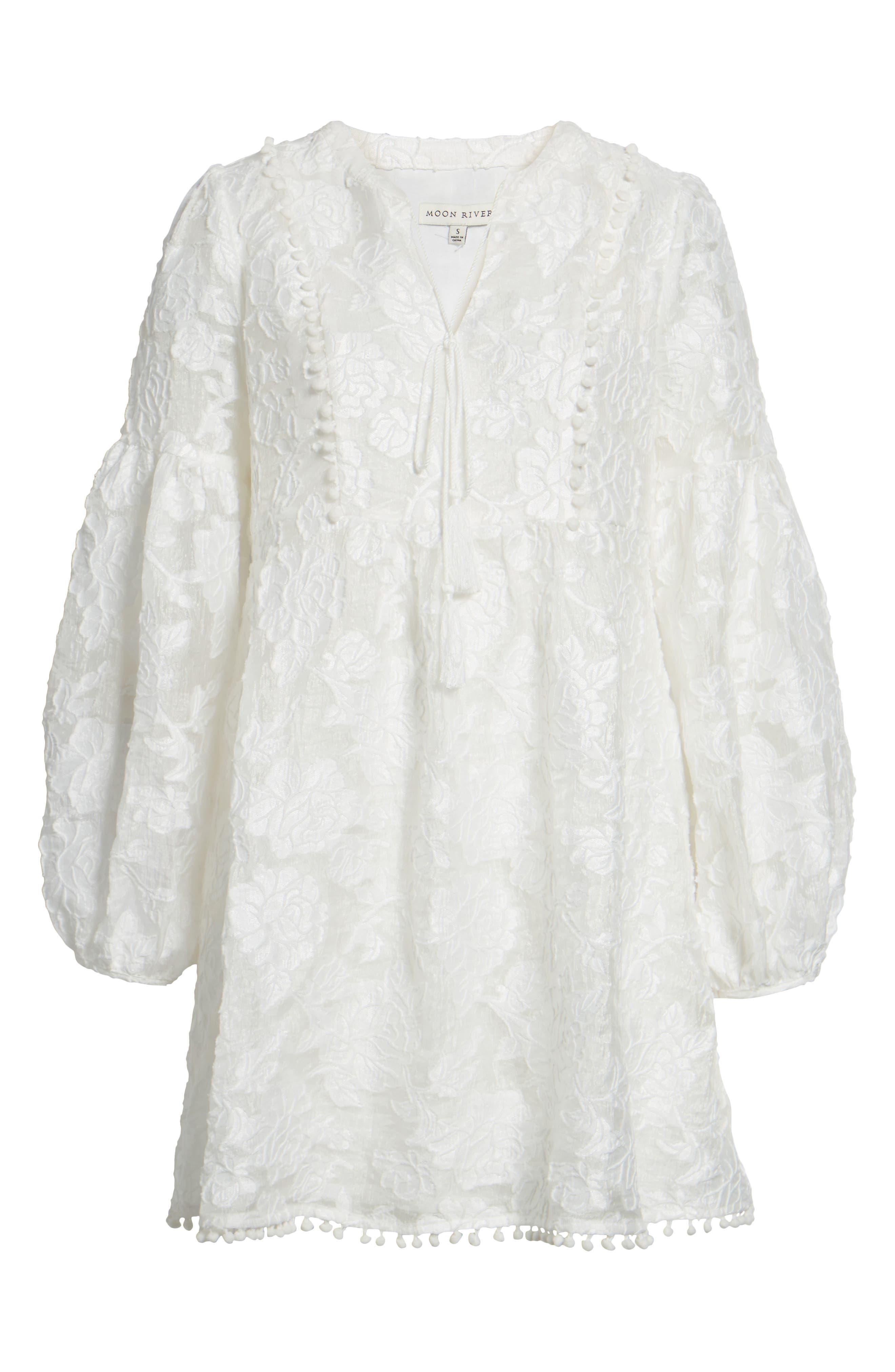 Floral Burnout Dress,                             Alternate thumbnail 7, color,                             White