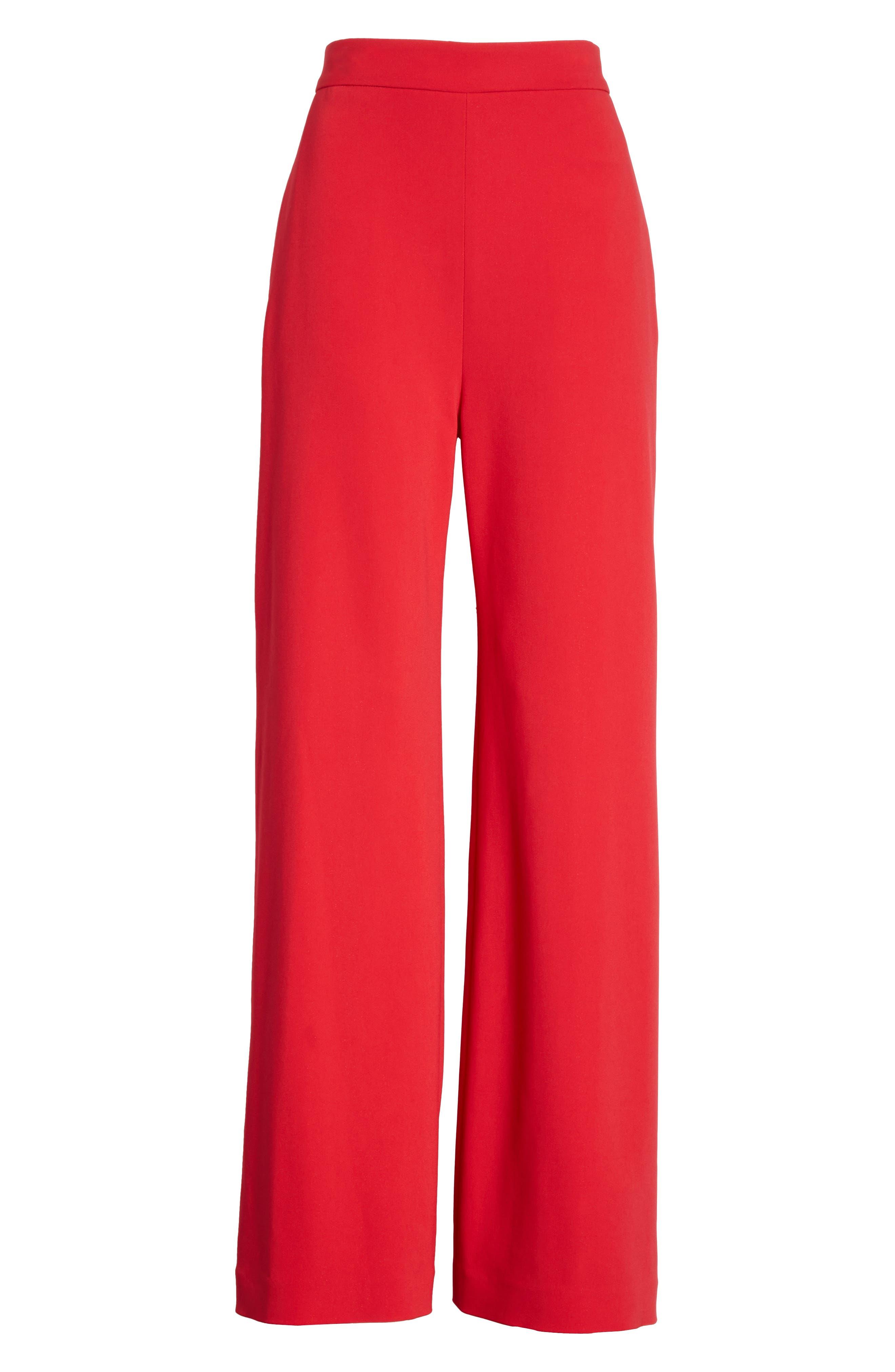 Wide Leg Crepe Pants,                             Alternate thumbnail 6, color,                             Red