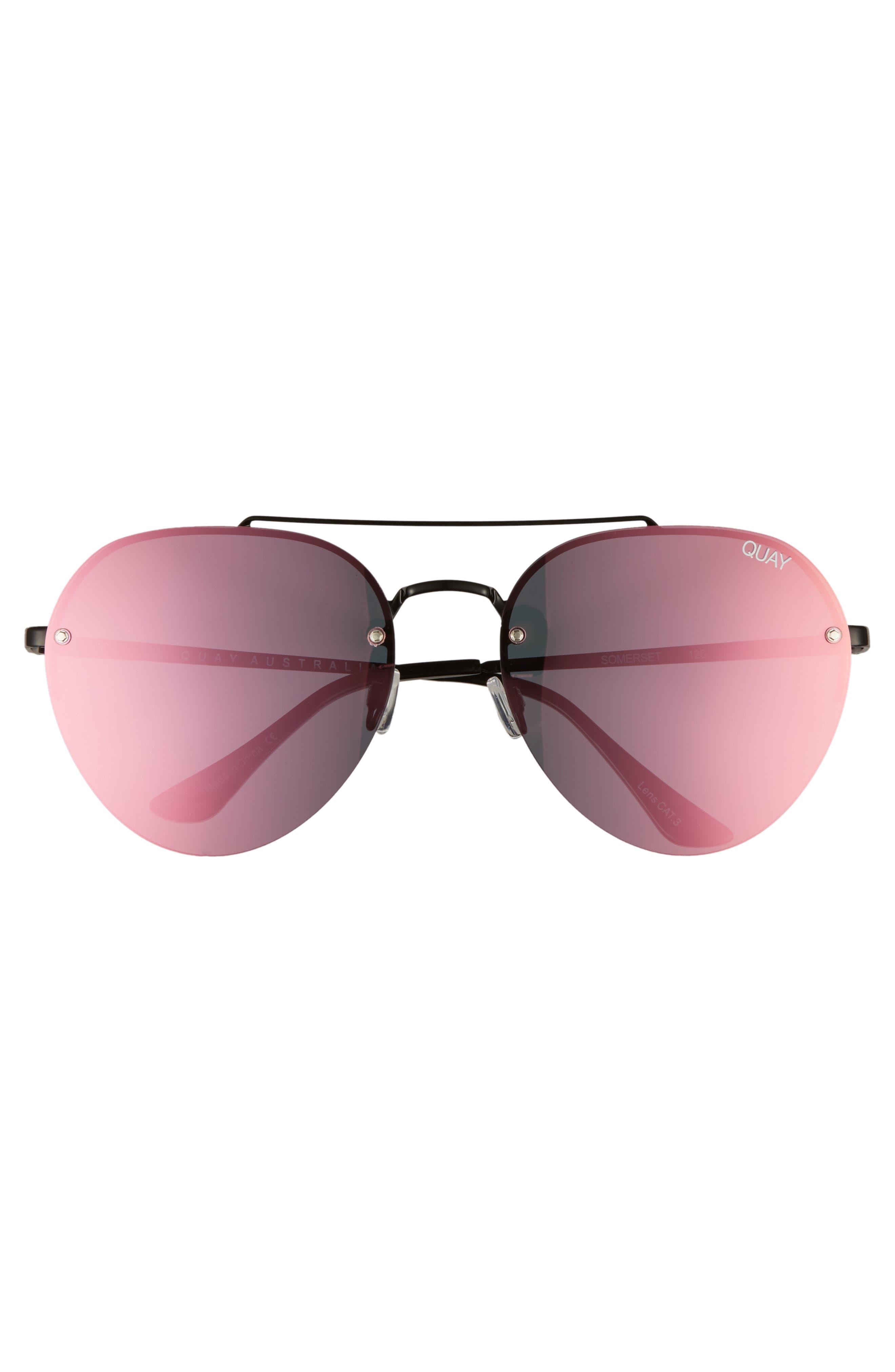 Somerset 65mm Aviator Sunglasses,                             Alternate thumbnail 8, color,                             Black/ Pink