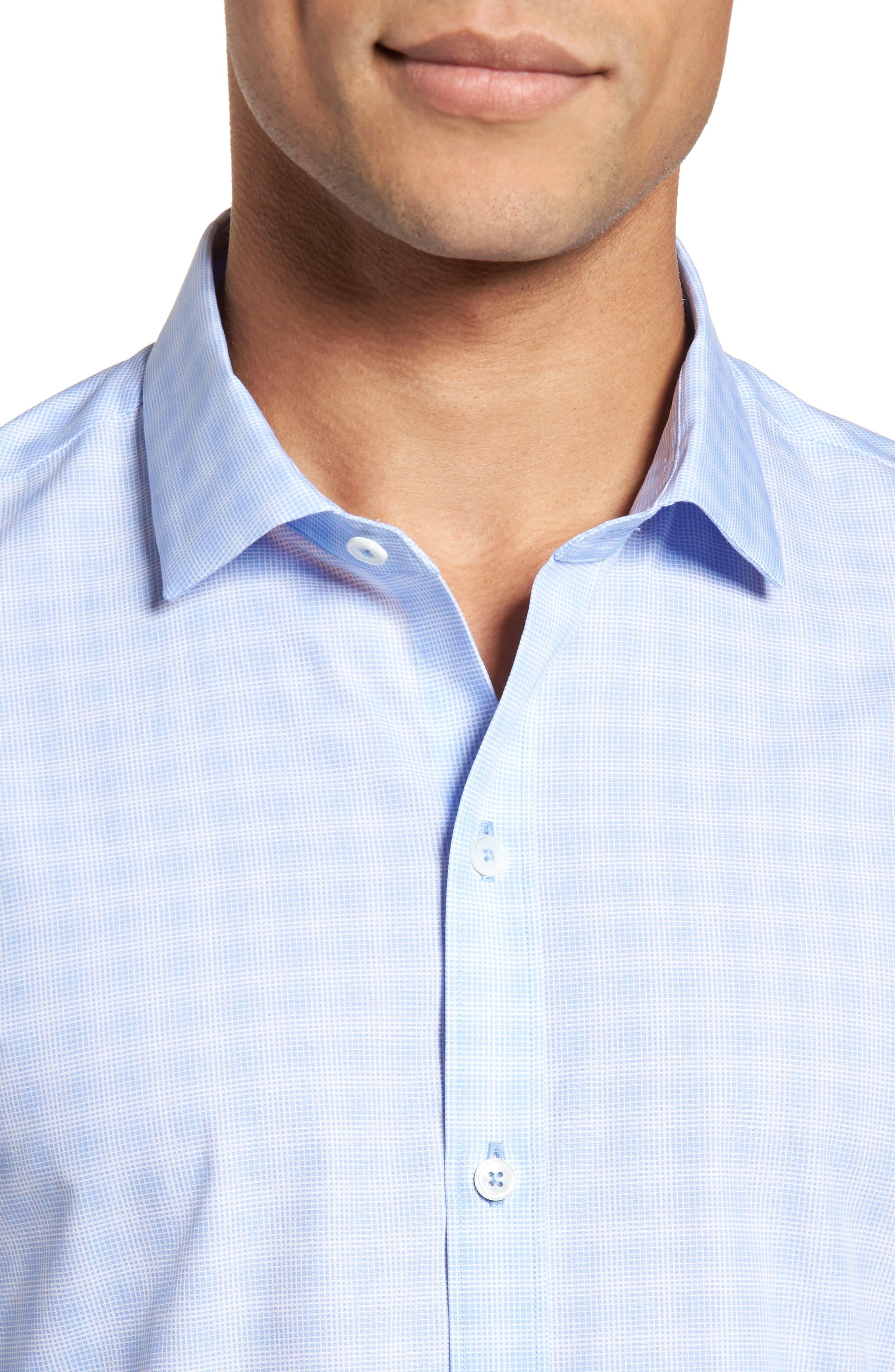 Cecil Check Print Sport Shirt,                             Alternate thumbnail 4, color,                             Lt Blue