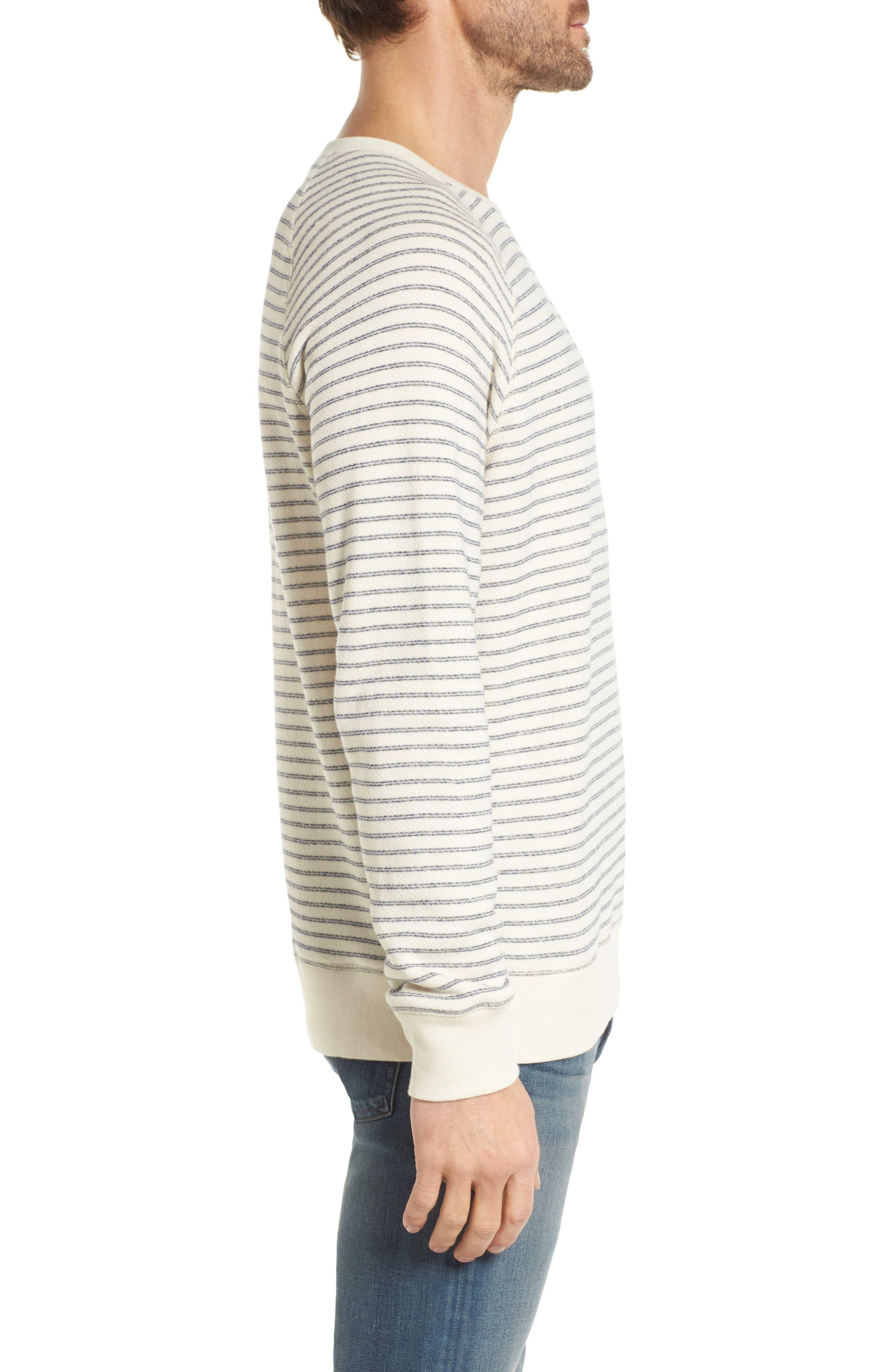 Dalton Stripe Terry Sweatshirt,                             Alternate thumbnail 3, color,                             White/ Navy Stripe
