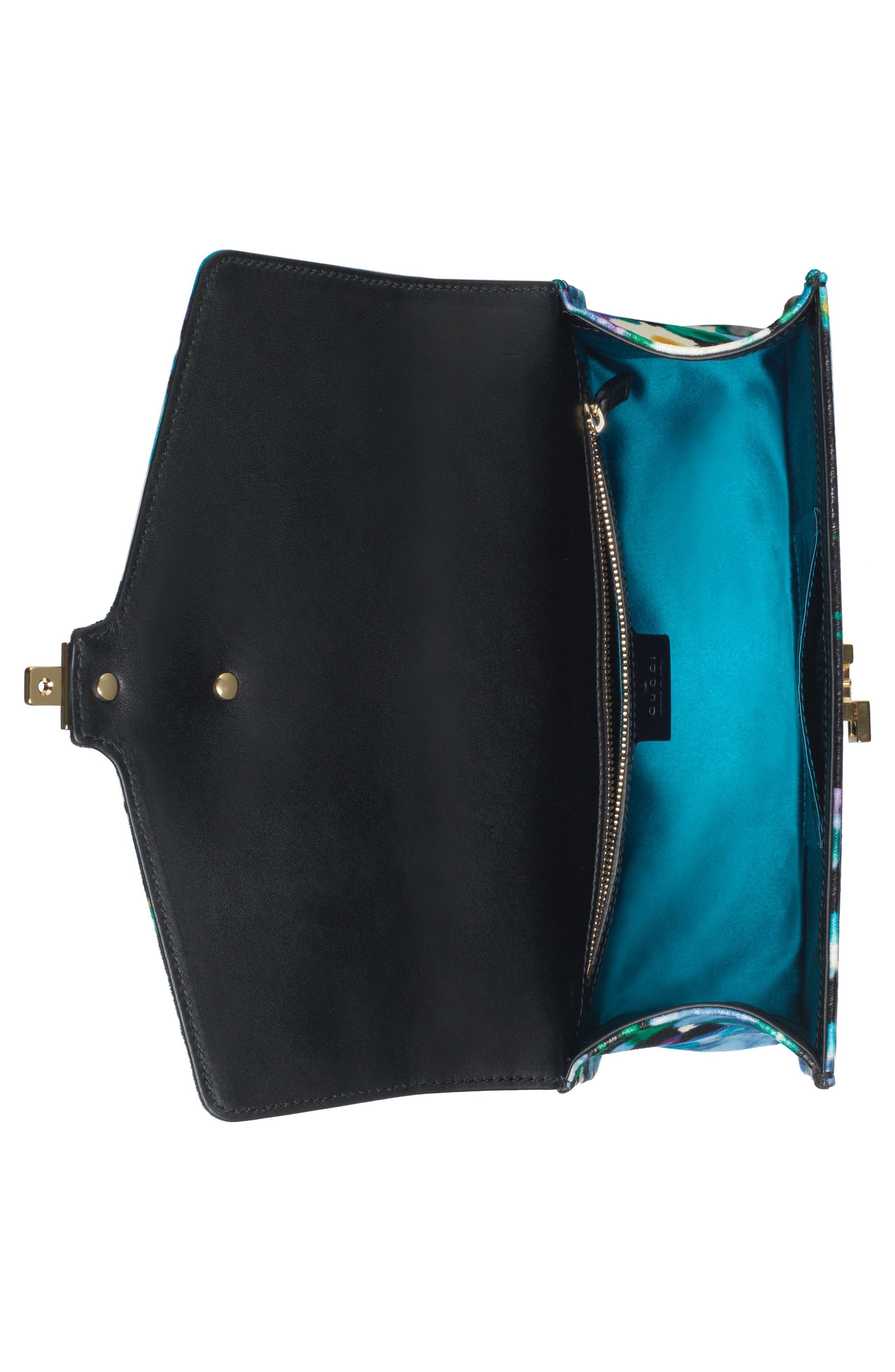 Small Floral Print Leather Shoulder Bag,                             Alternate thumbnail 3, color,                             Black/ Blue Red Blue