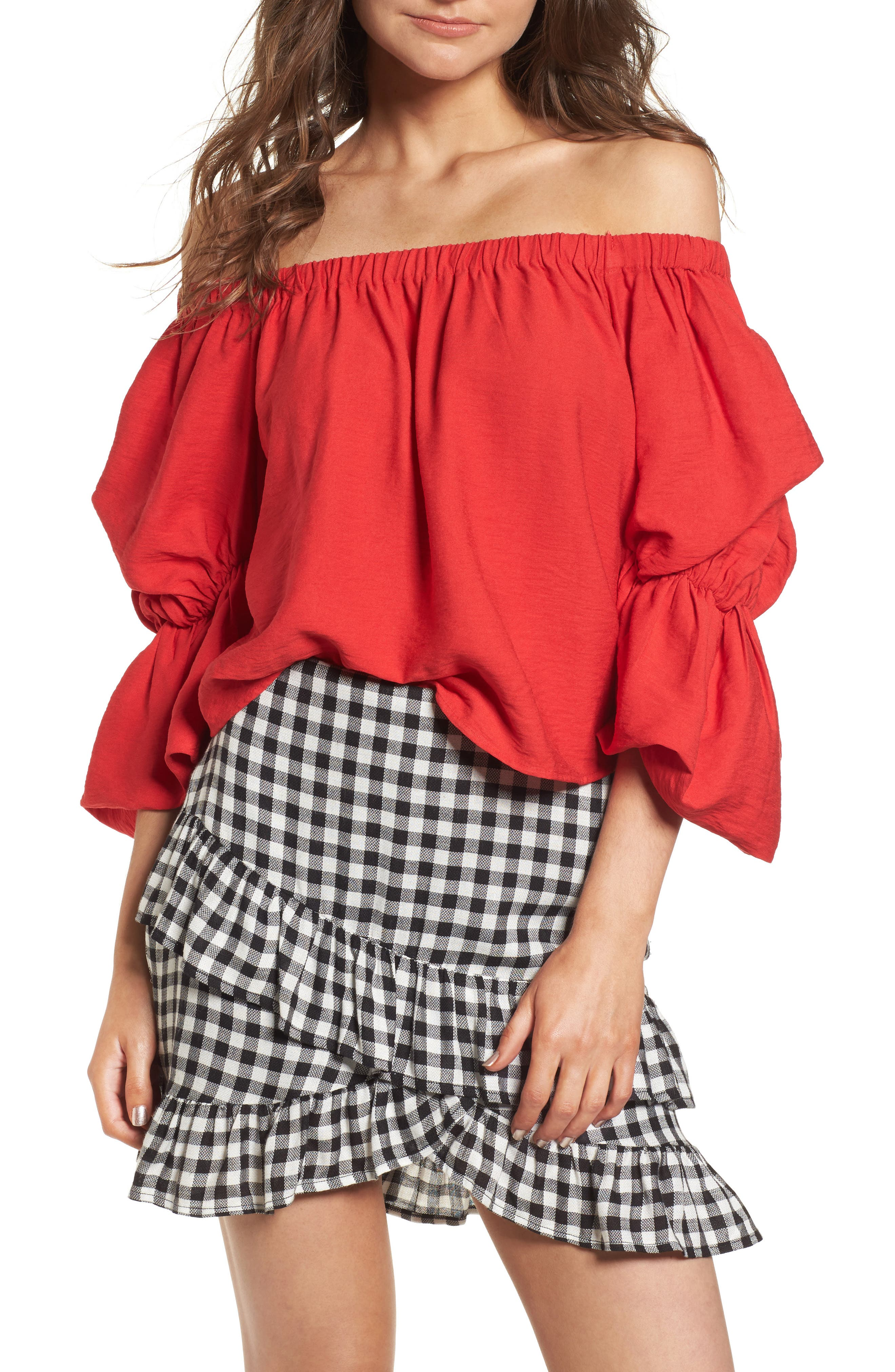 Puff Sleeve Off the Shoulder Top,                             Main thumbnail 1, color,                             Red