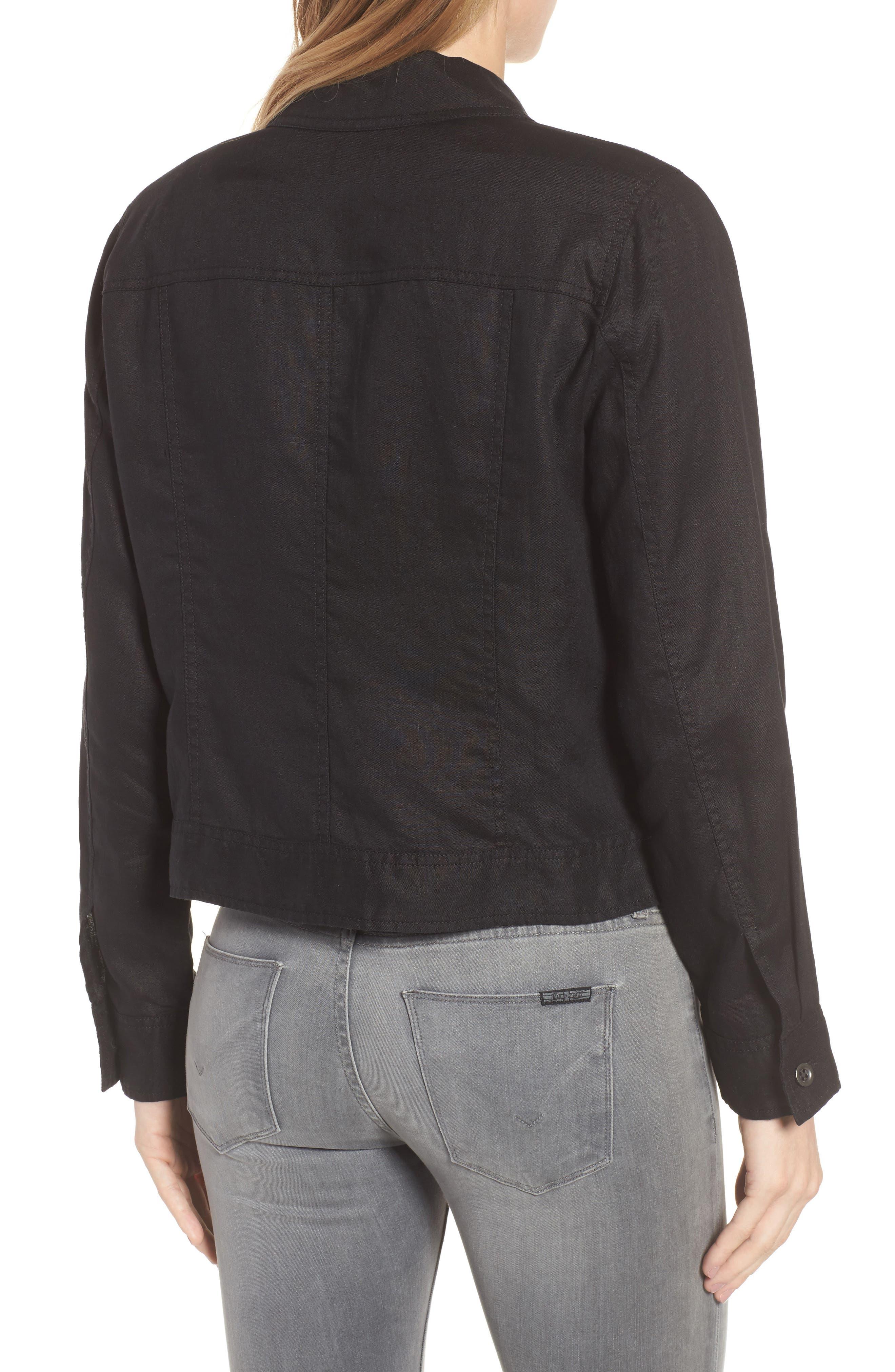 Crop Organic Linen Jacket,                             Alternate thumbnail 2, color,                             Black