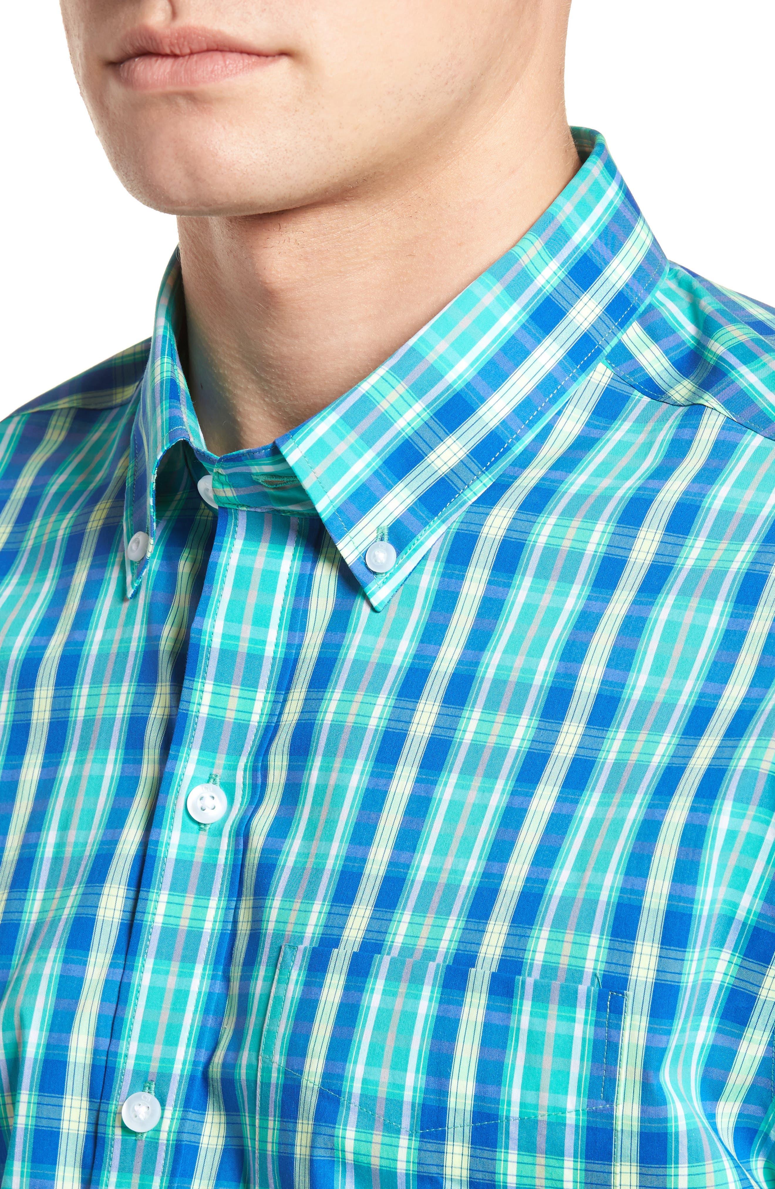 Carter Plaid Performance Sport Shirt,                             Alternate thumbnail 4, color,                             Dart