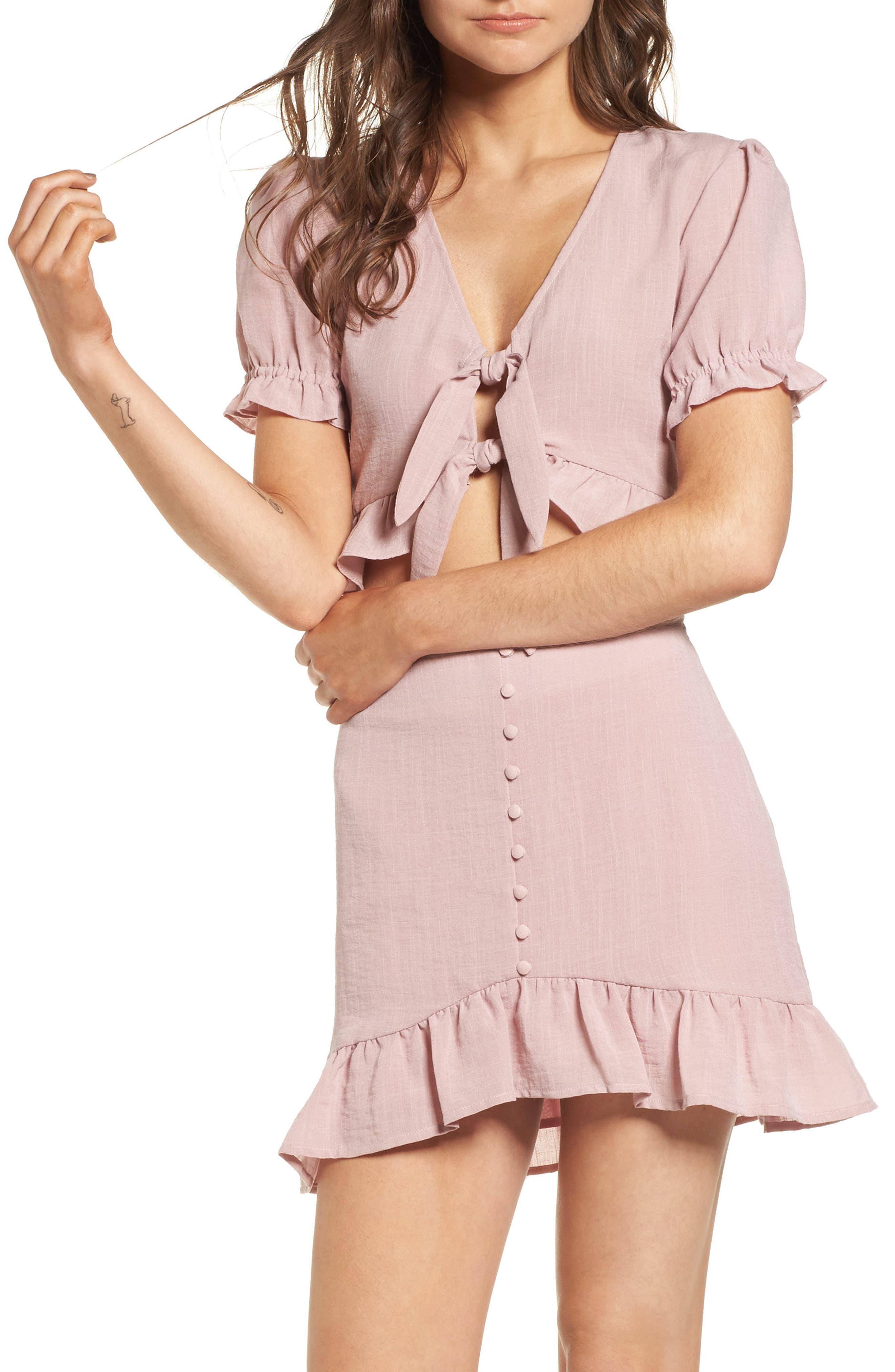 Peony Ruffle Tie Front Crop Top,                         Main,                         color, Pink