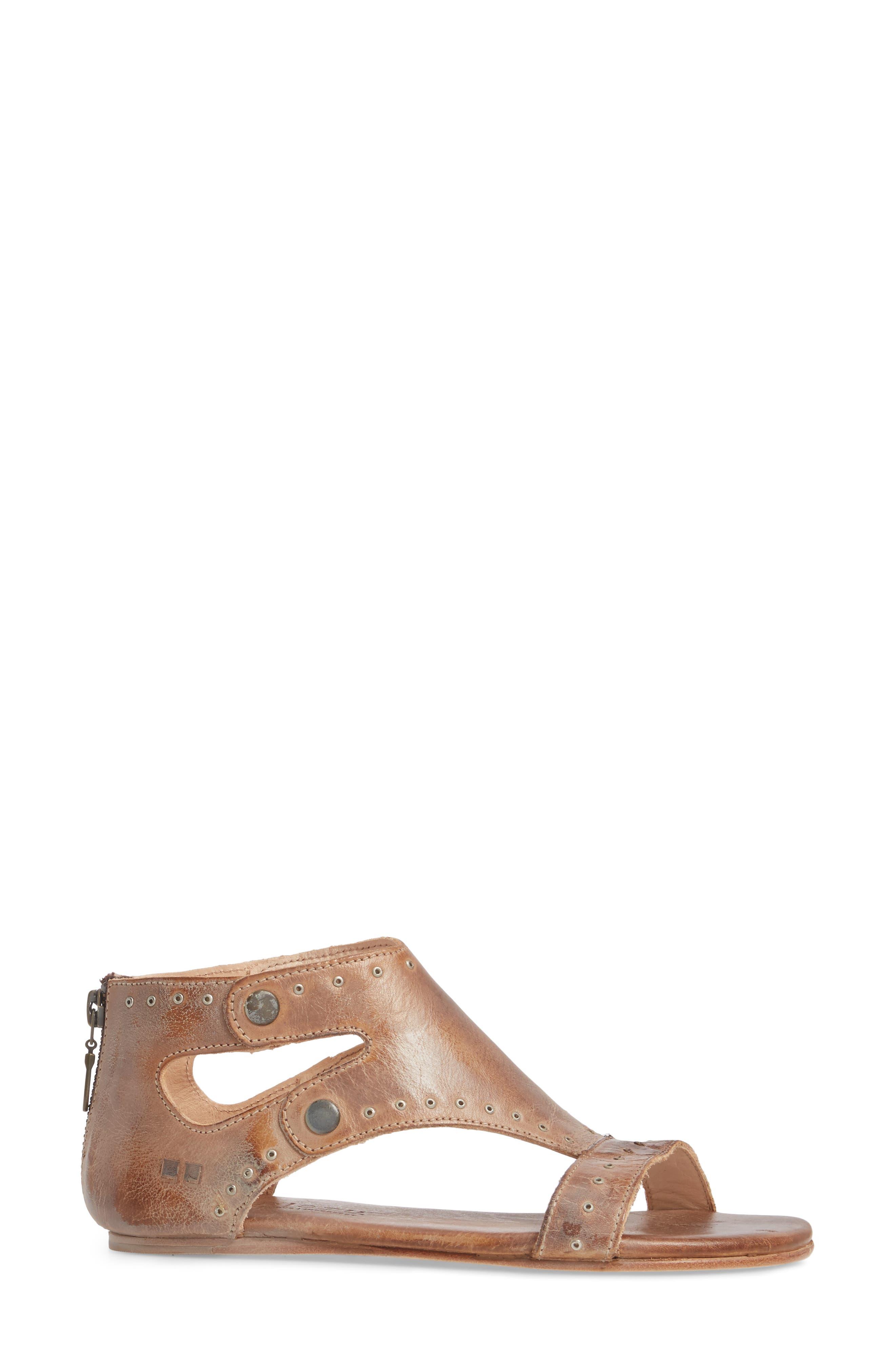 Soto G V-Strap Sandal,                             Alternate thumbnail 3, color,                             Tan Mason Leather