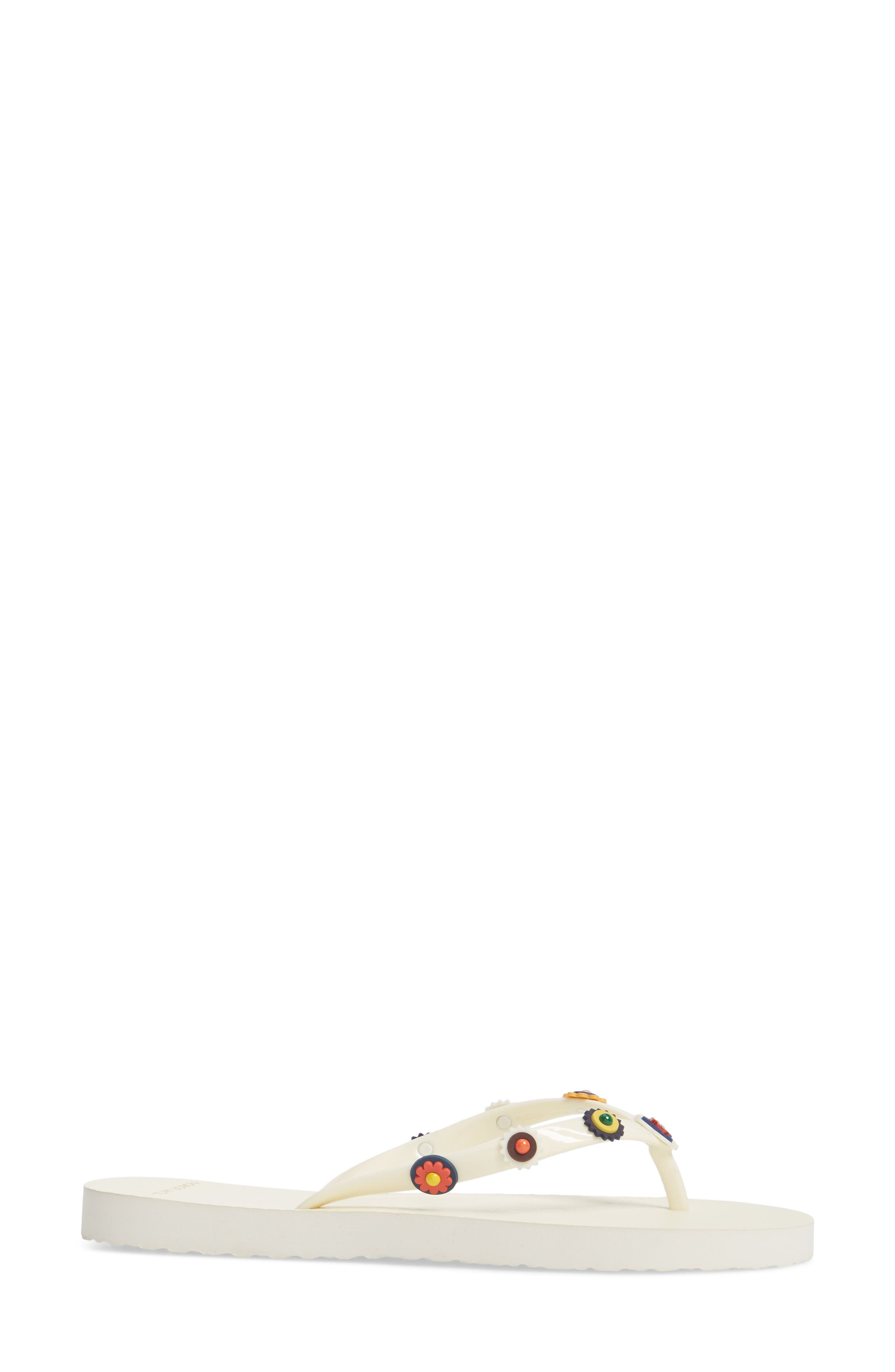 Marguerite 2 Studded Flip Flop,                             Alternate thumbnail 3, color,                             Perfect Ivory