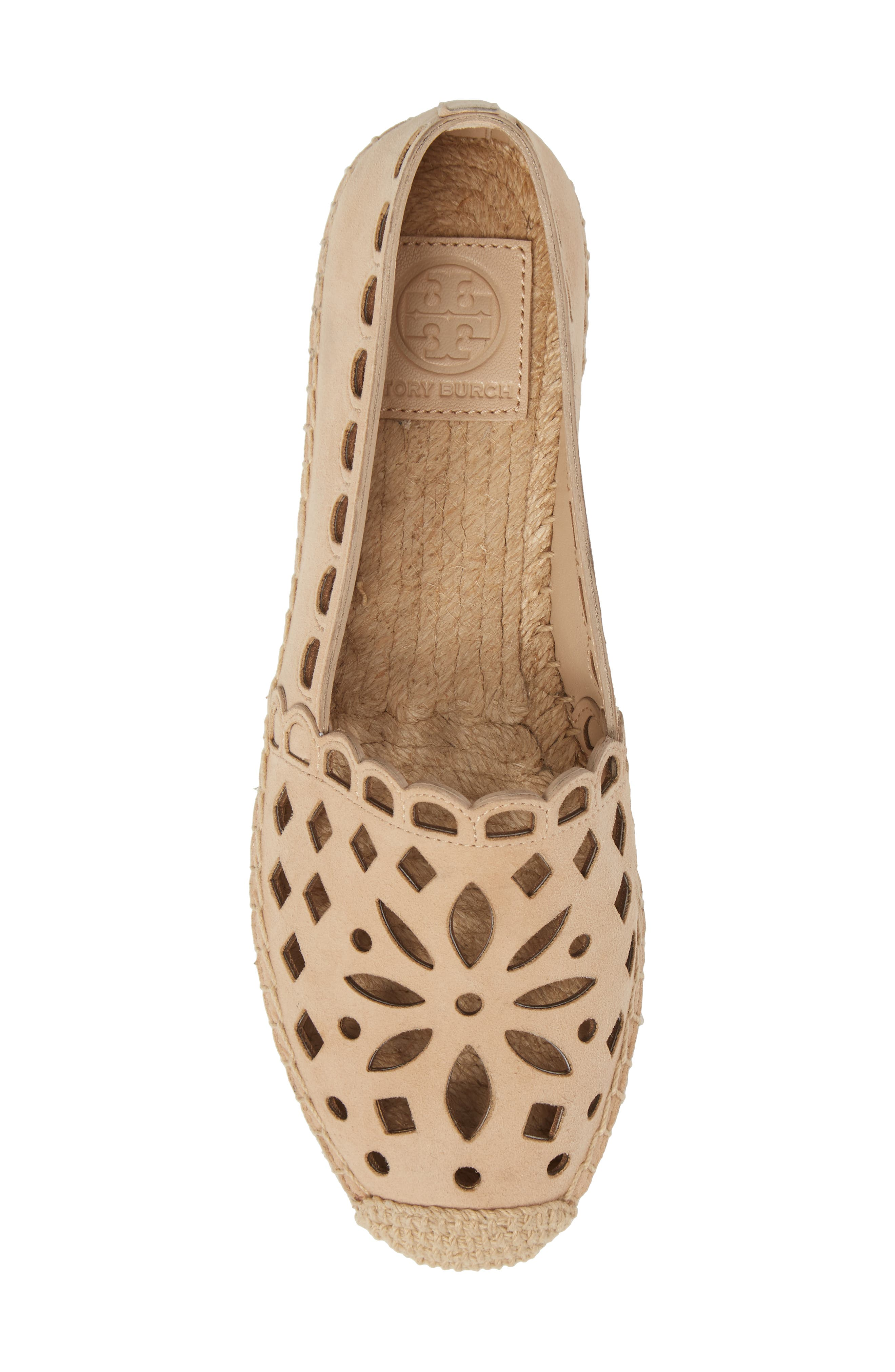May Perforated Espadrille Flat,                             Alternate thumbnail 5, color,                             Desert Blush