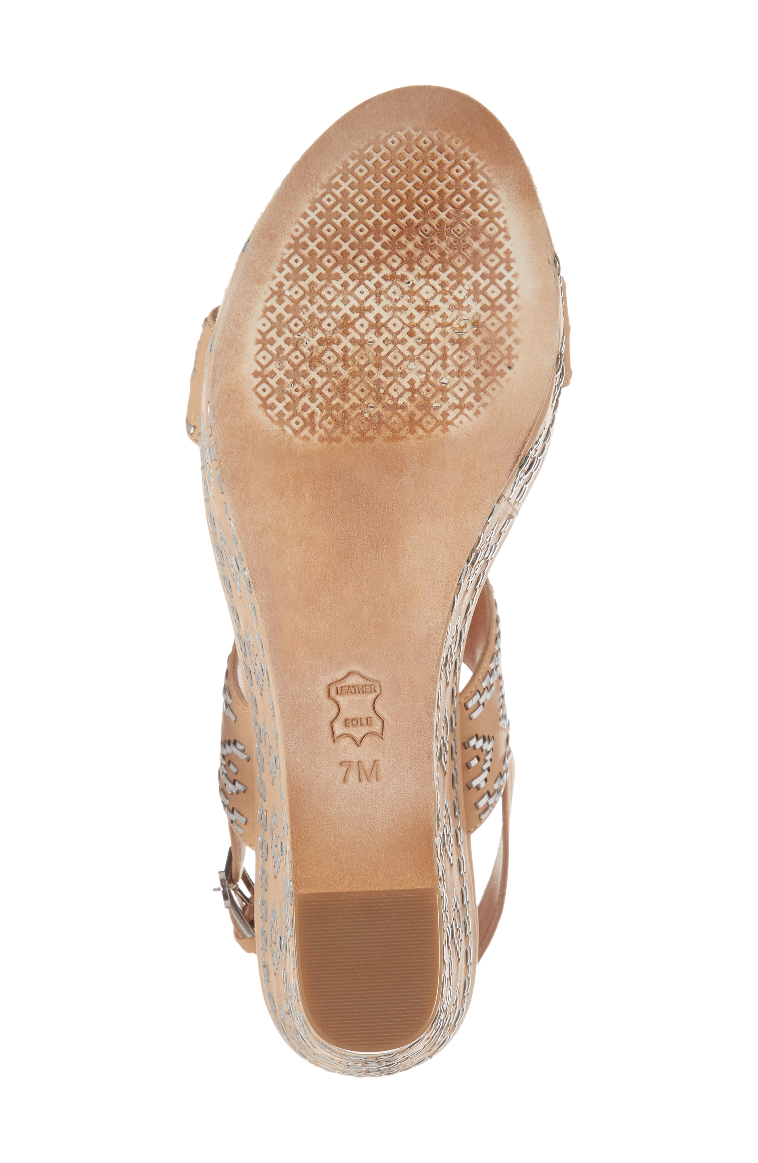 Blake Embroidered Platform Wedge,                             Alternate thumbnail 6, color,                             Natural Vachetta/ Silver