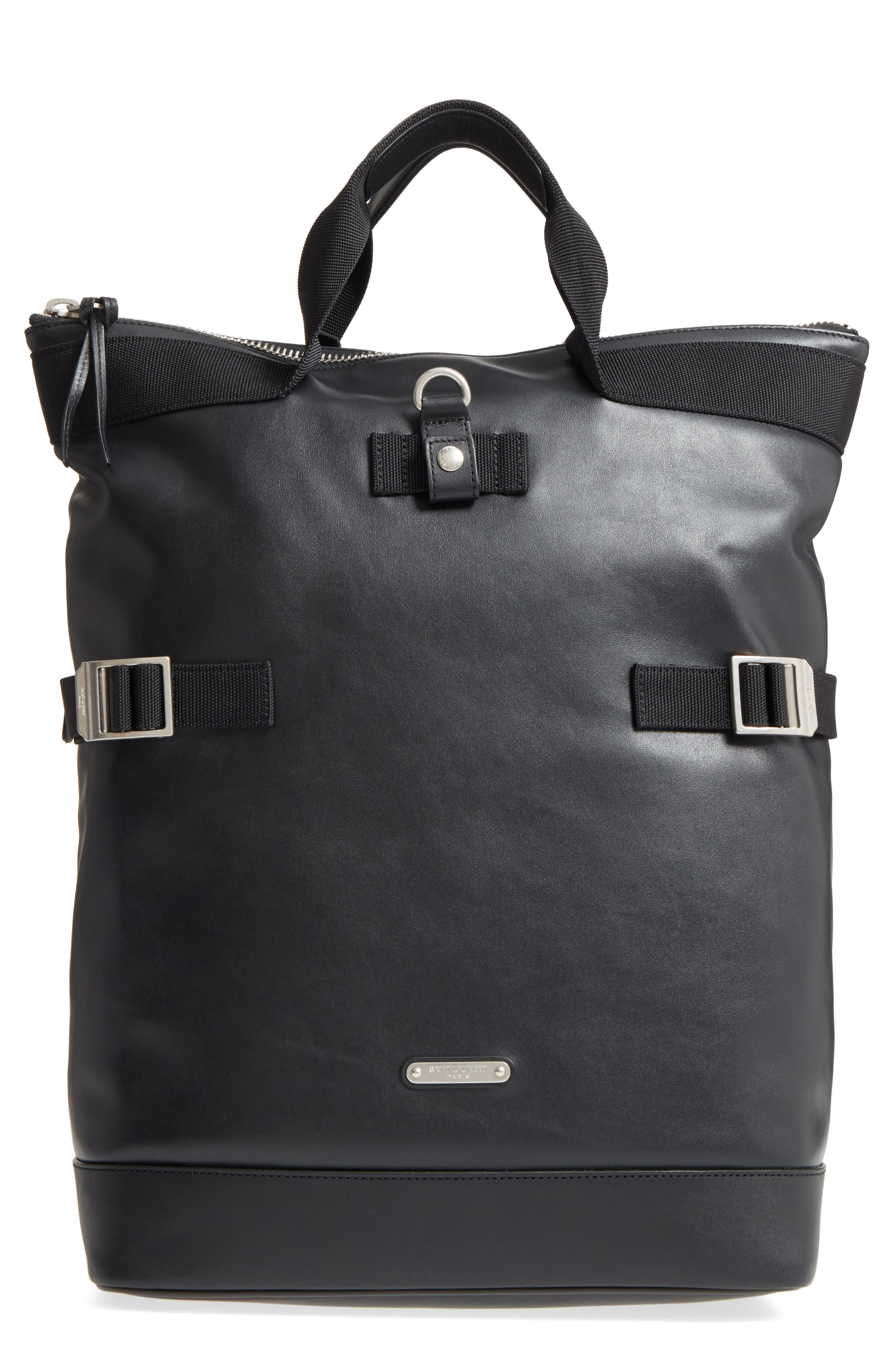 Saint Laurent Antibe Flat Leather Shopping Backpack