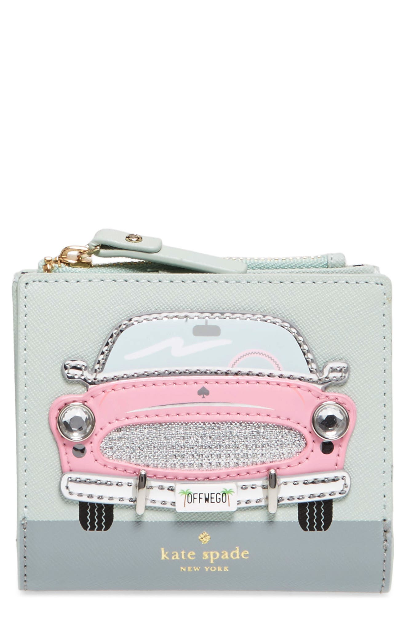 checking in – pink car adalyn leather wallet,                             Main thumbnail 1, color,                             Multi