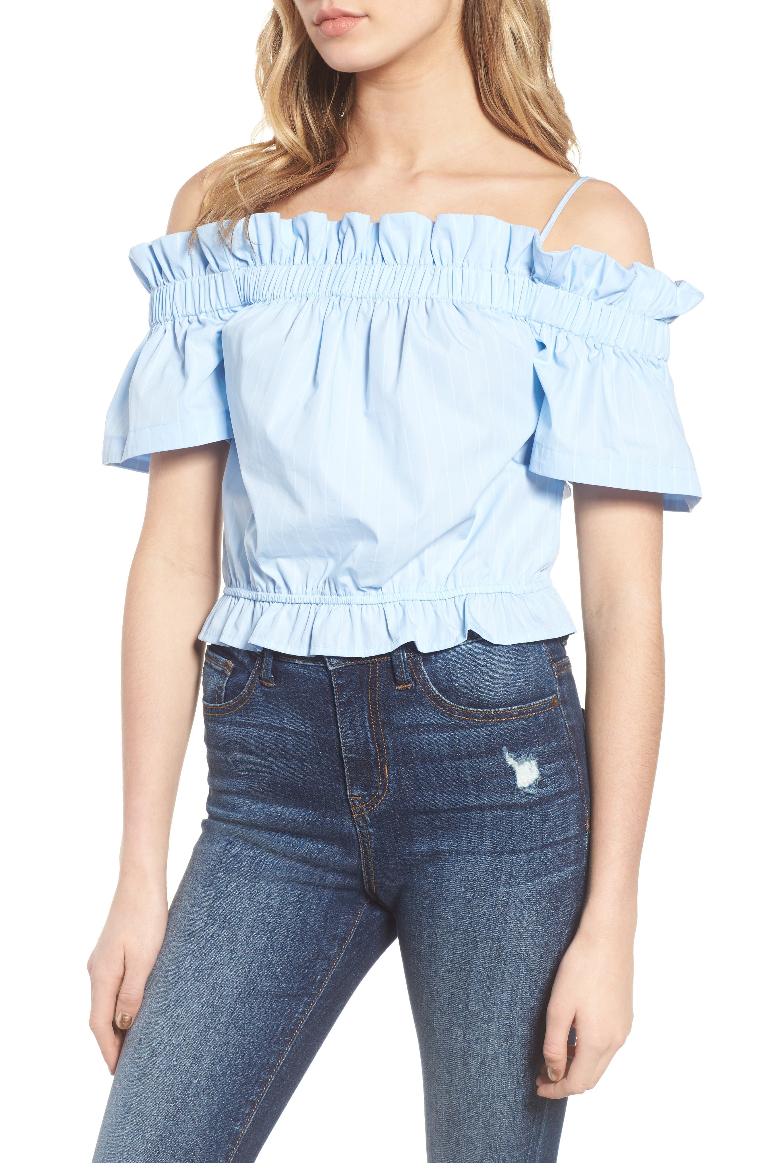 Cold Shoulder Ruffle Trim Top,                             Main thumbnail 1, color,                             Blue Drift Rhea Stripe
