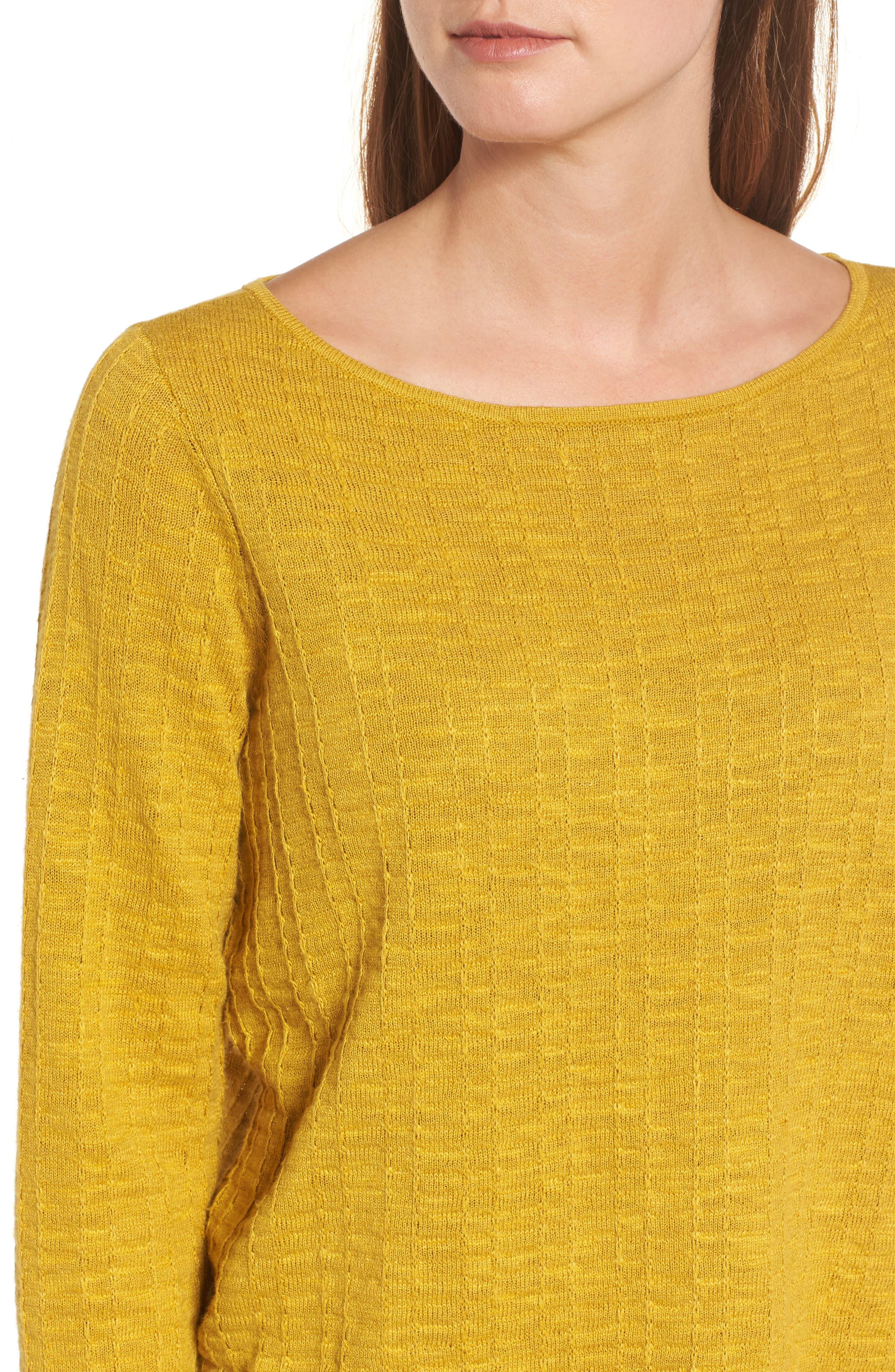 Organic Linen & Cotton Sweater,                             Alternate thumbnail 4, color,                             Mustard Seed