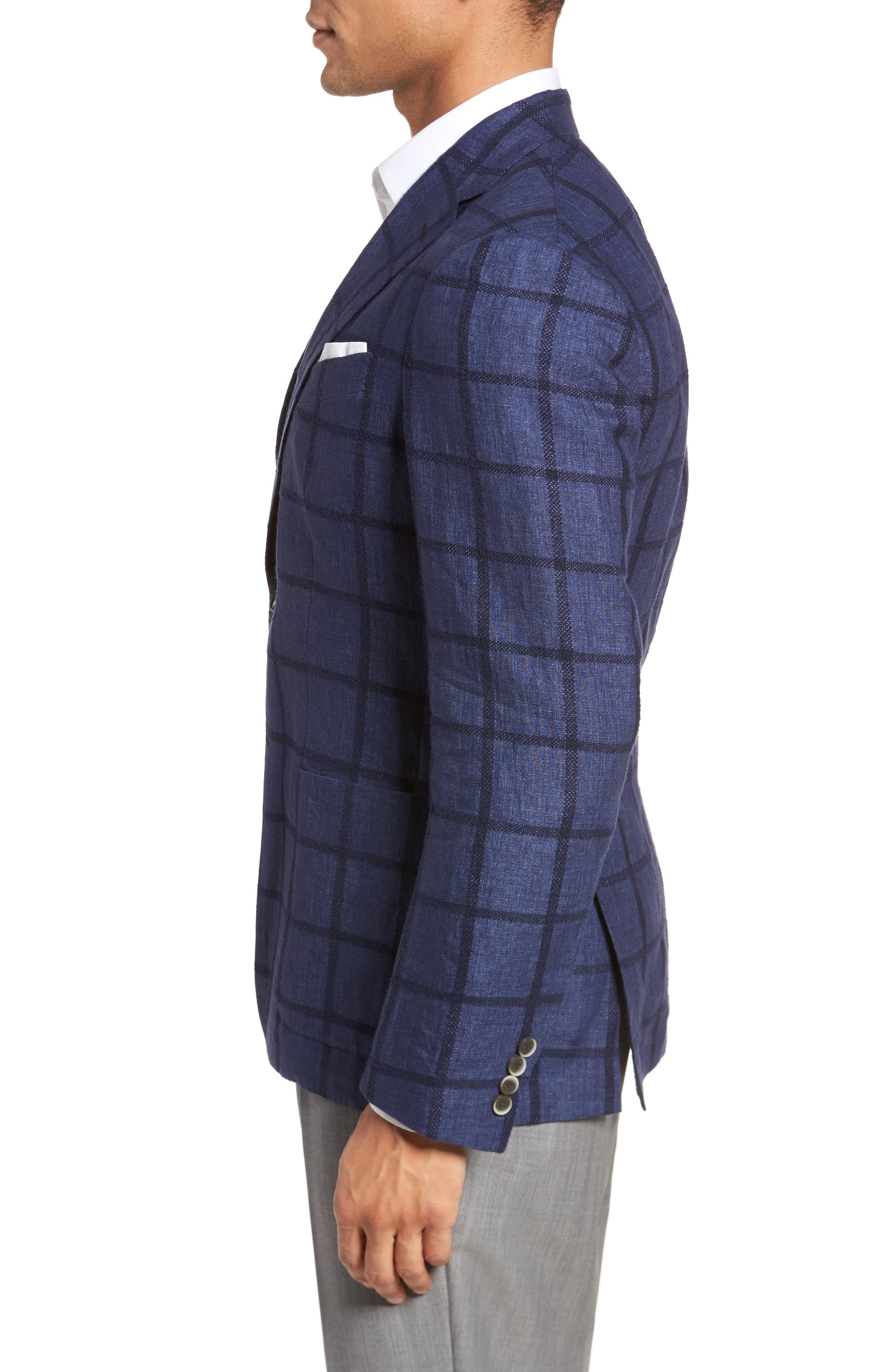 Trim Fit Windowpane Linen Blend Sport Coat,                             Alternate thumbnail 3, color,                             Navy