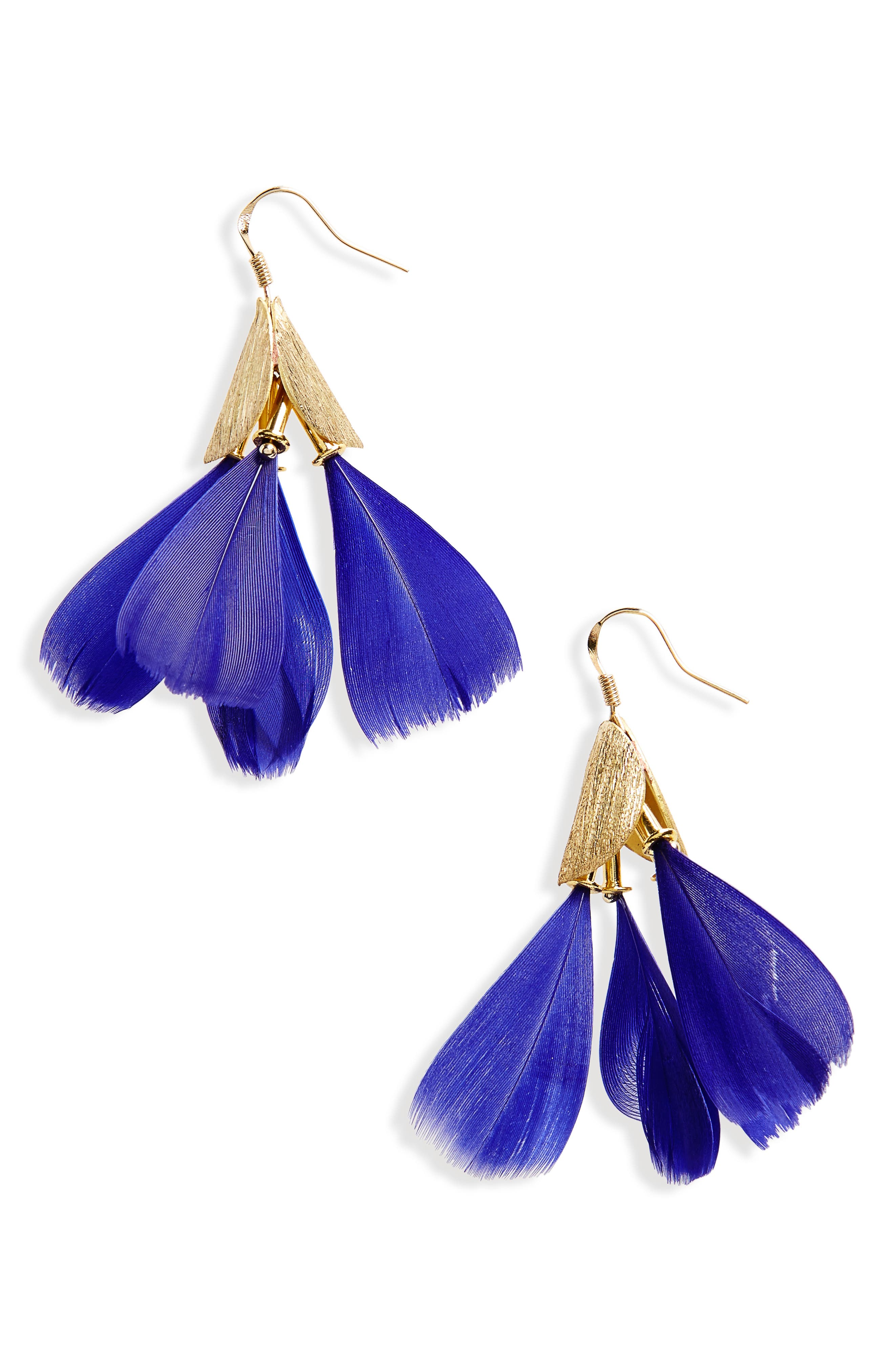 Dancing Feather Earrings,                             Main thumbnail 1, color,                             Blue