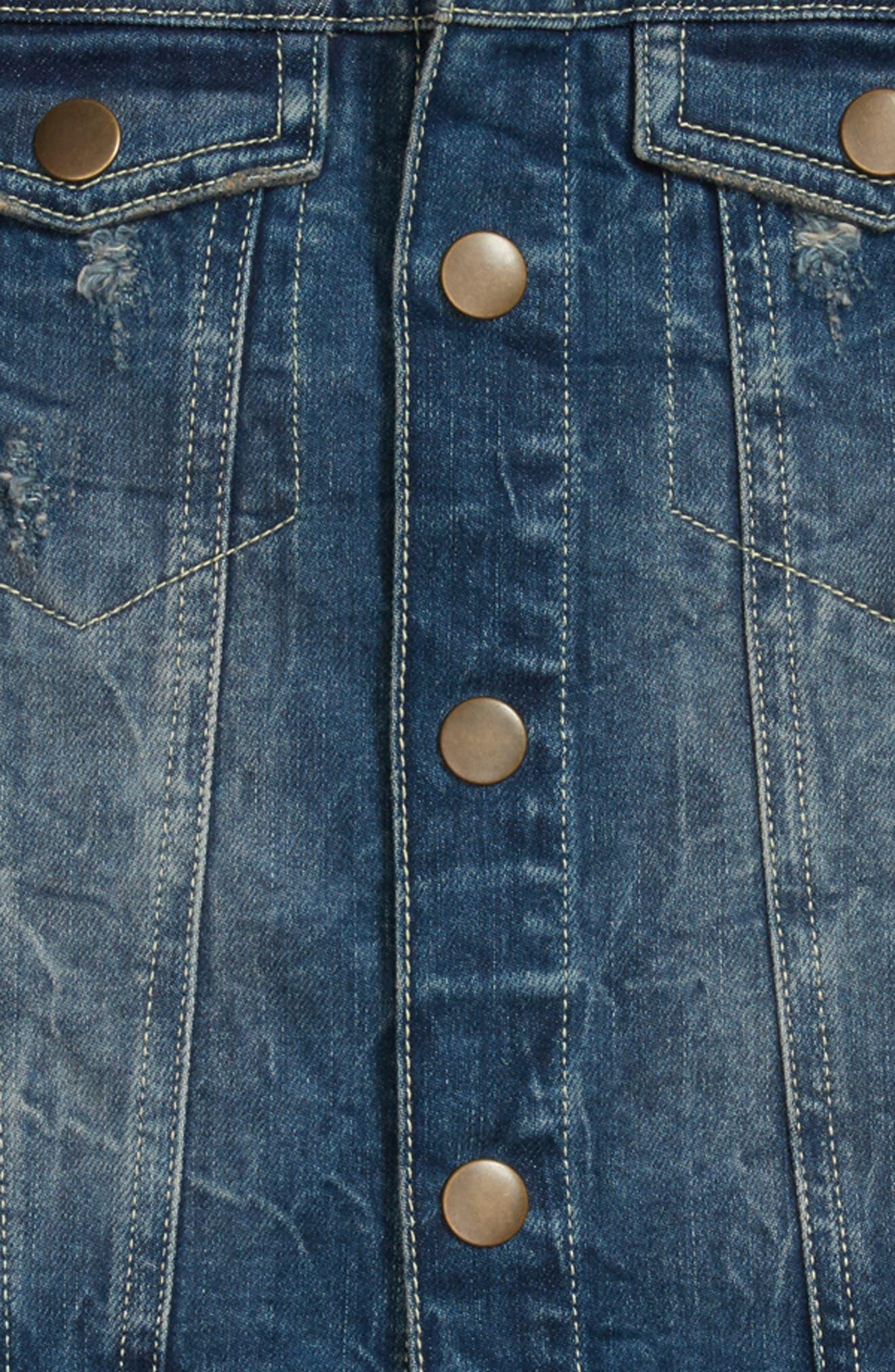Camo Sleeve Denim Jacket,                             Alternate thumbnail 2, color,                             Stone Wash