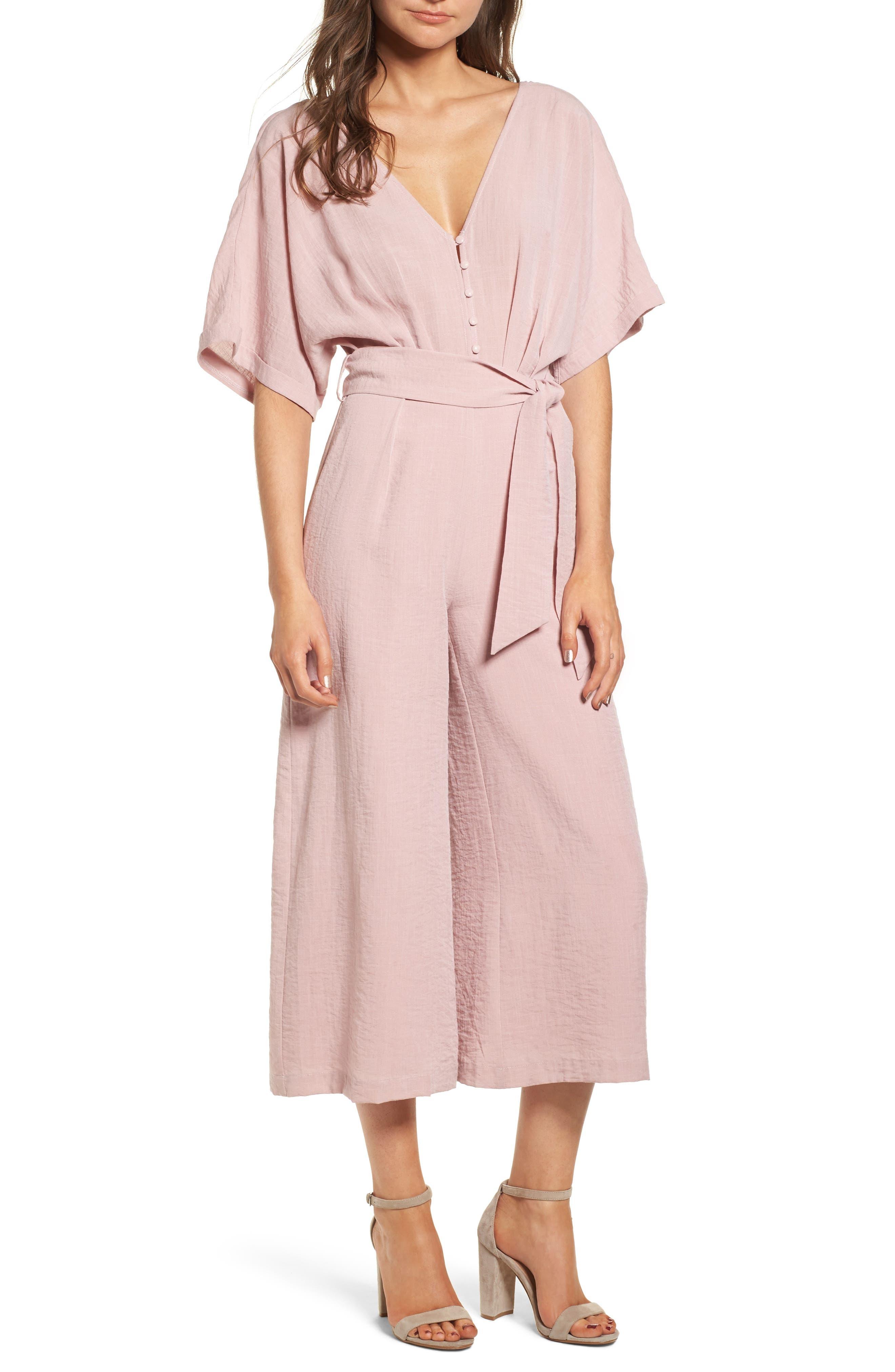 Peony Tie Waist Jumpsuit,                         Main,                         color, Pink