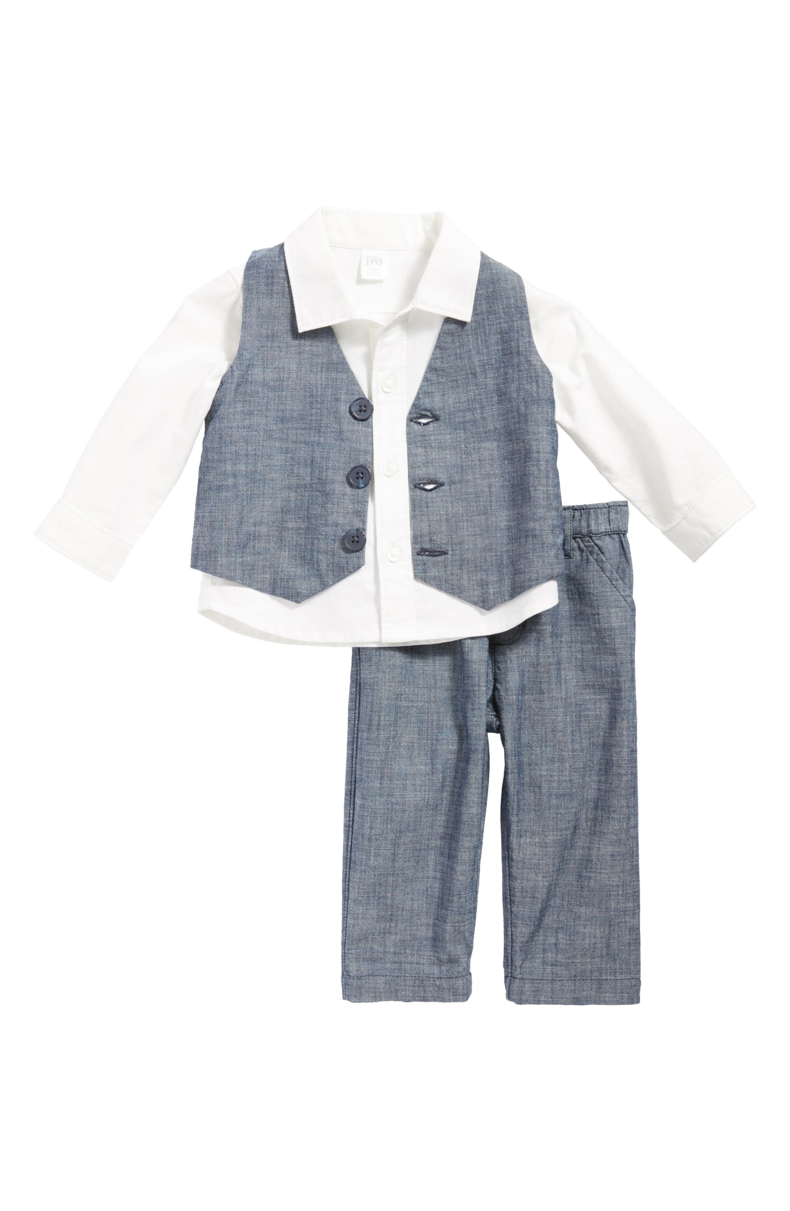 Nordstrom Baby Shirt, Chambray Vest & Pants Set (Baby Boys)
