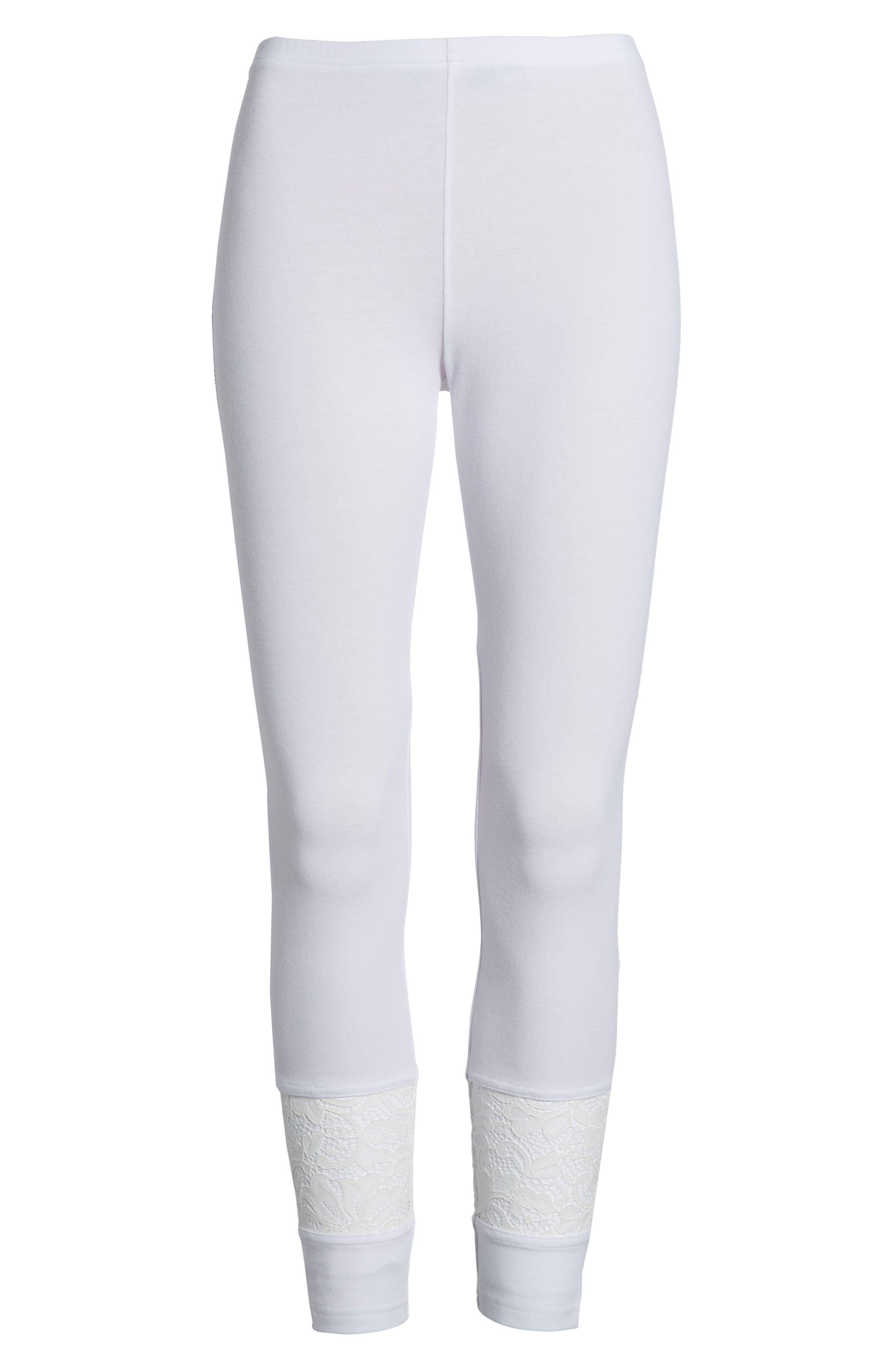 Lace Block Skimmer Leggings,                             Alternate thumbnail 6, color,                             White