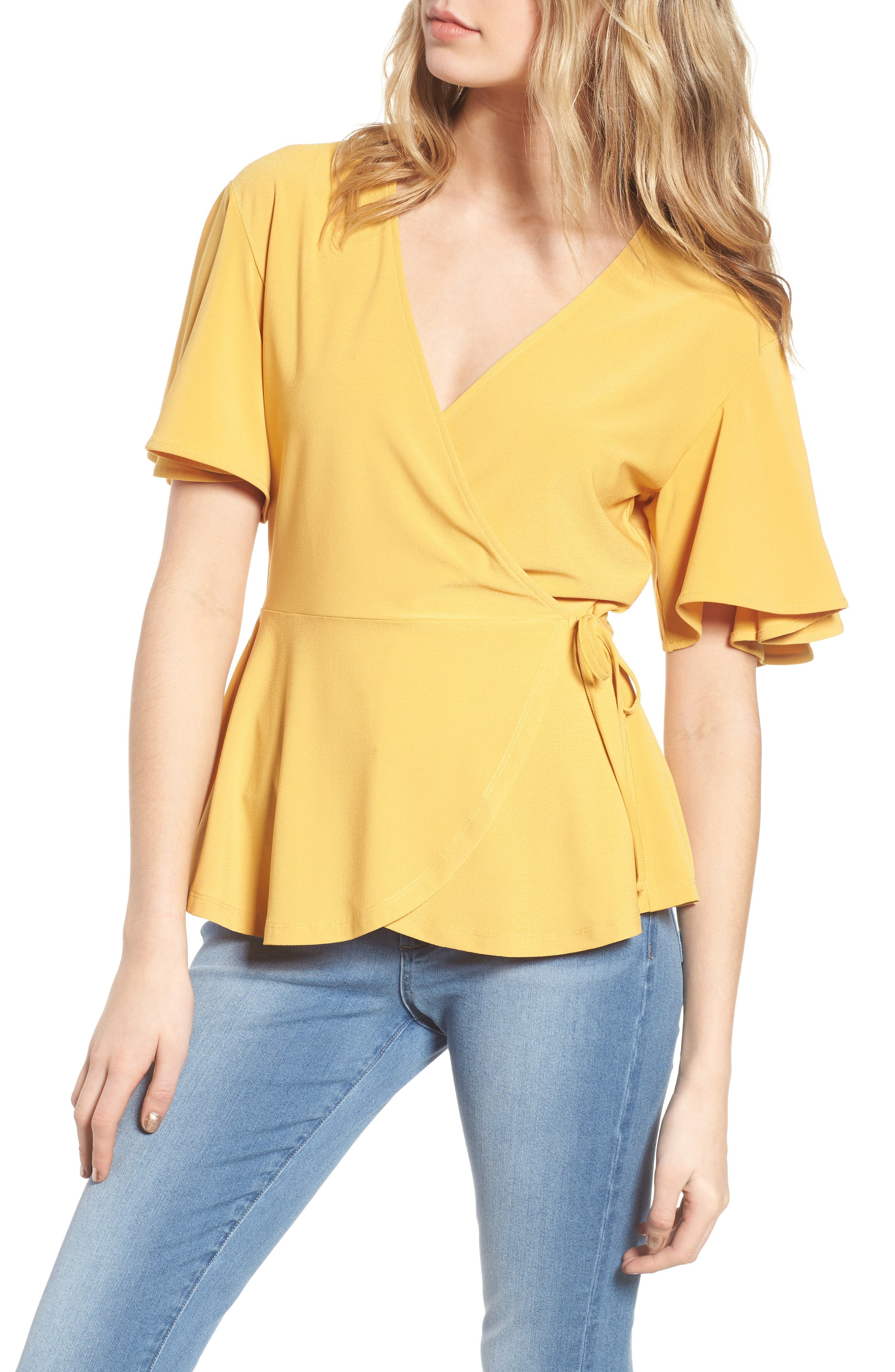 Flounce Sleeve Faux Wrap Top,                         Main,                         color, Yellow Mineral