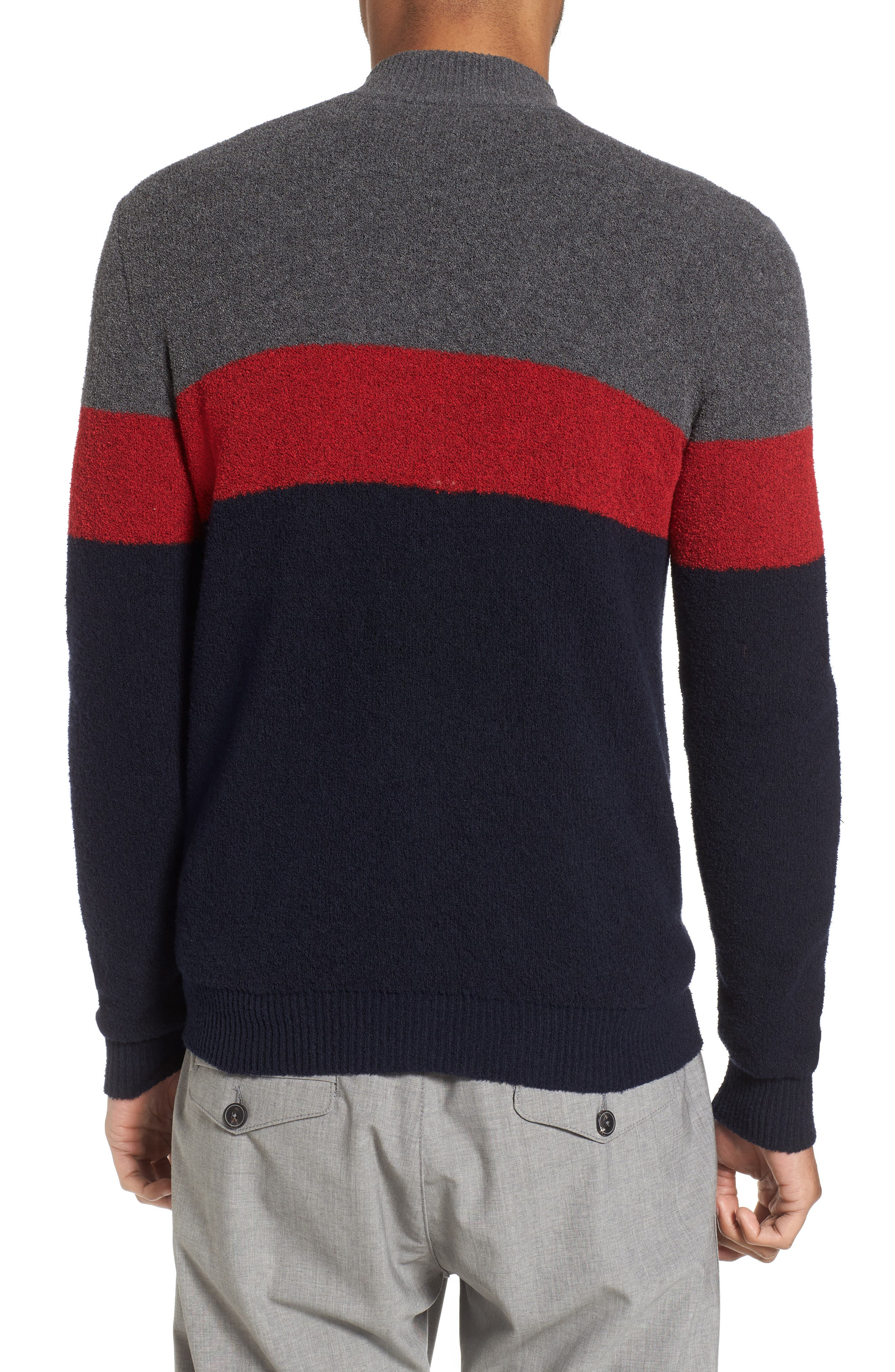 Colorblock Zip Sweater,                             Alternate thumbnail 2, color,                             Navy/ Red