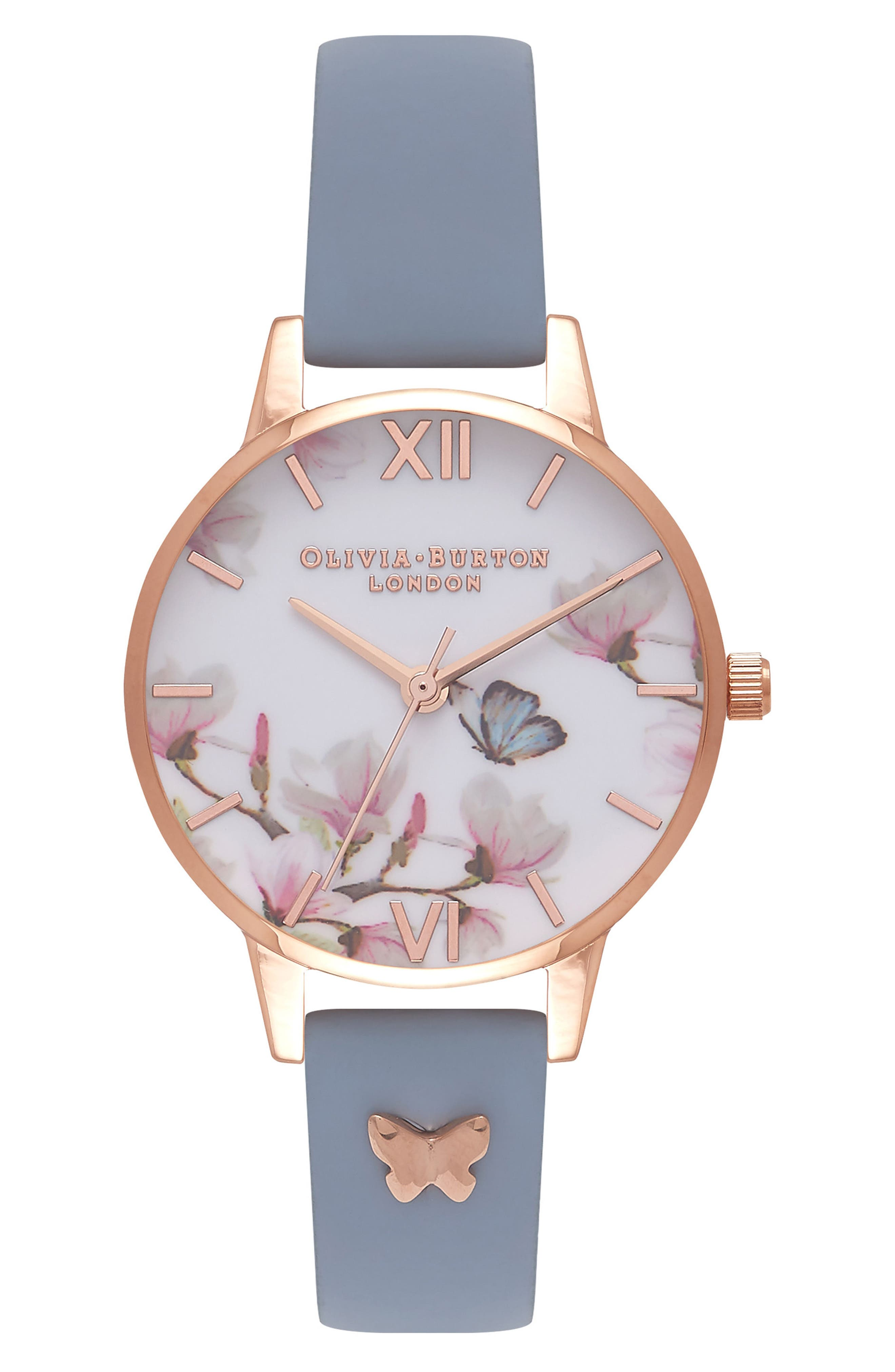 Pretty Blossom Leather Strap Watch, 30mm,                         Main,                         color, Blue/ White / Rose Gold