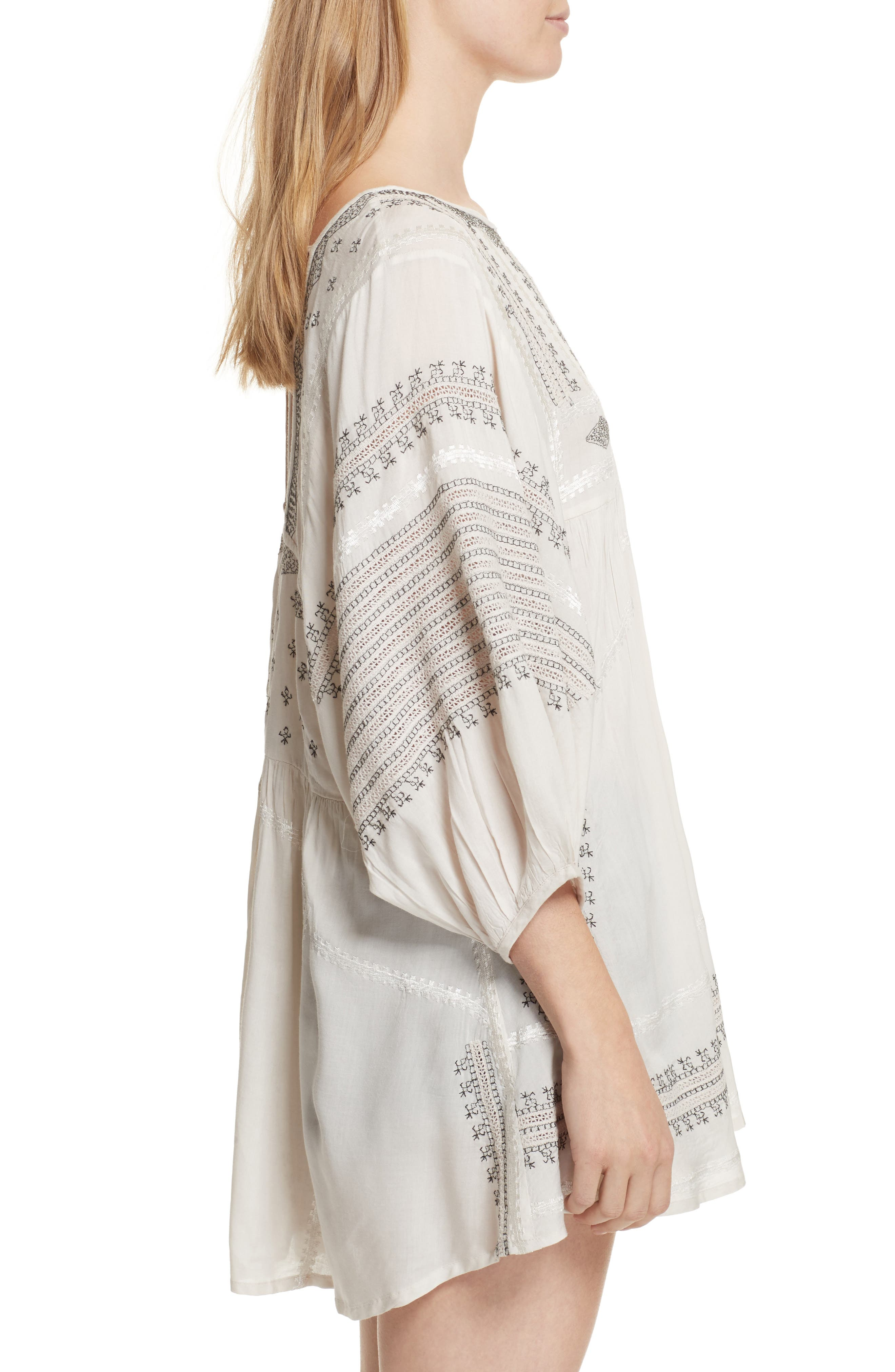 Wild One Embroidered Top,                             Alternate thumbnail 3, color,                             Ivory