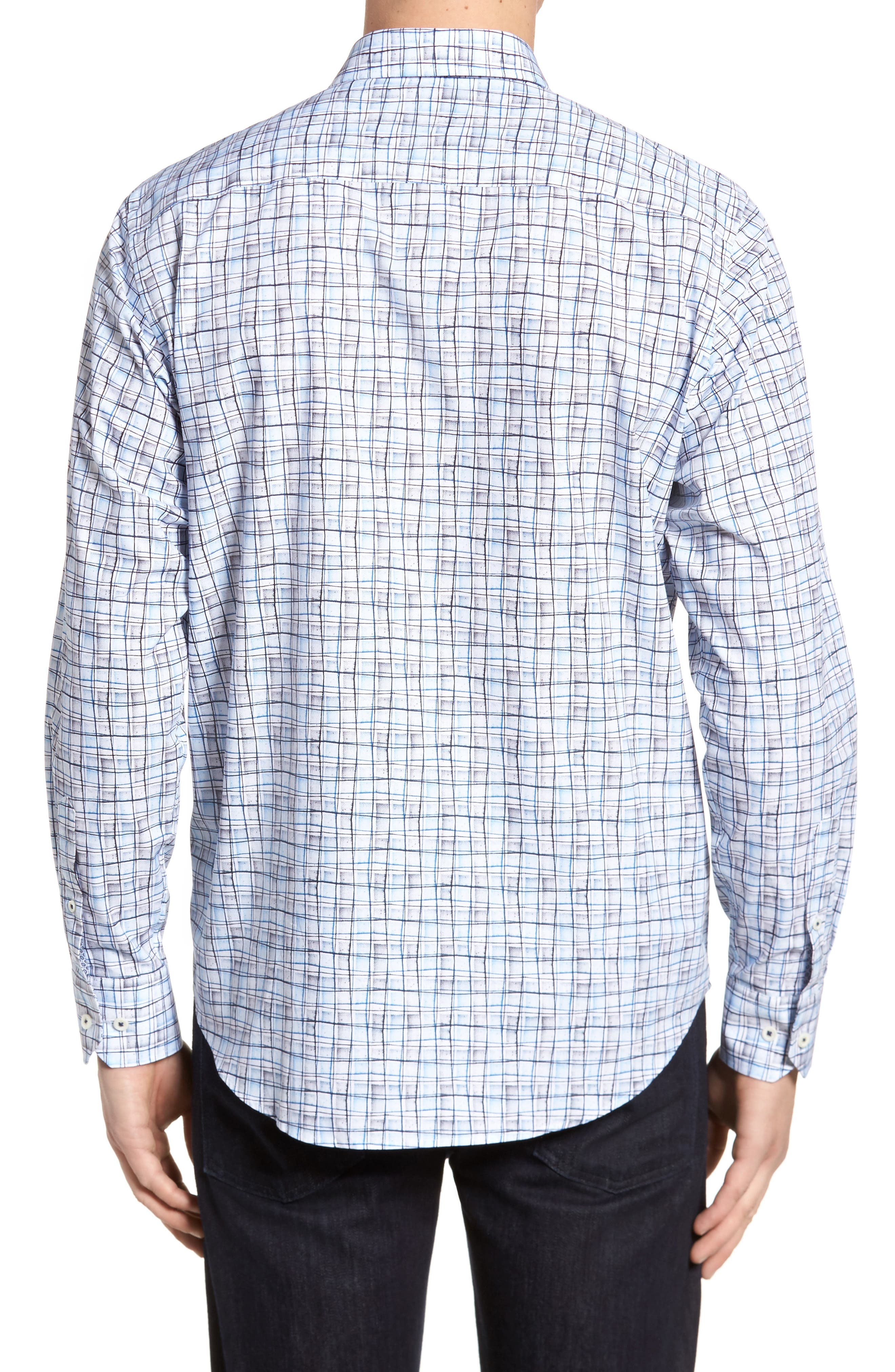 Regular Fit Grid Sport Shirt,                             Alternate thumbnail 2, color,                             Platinum