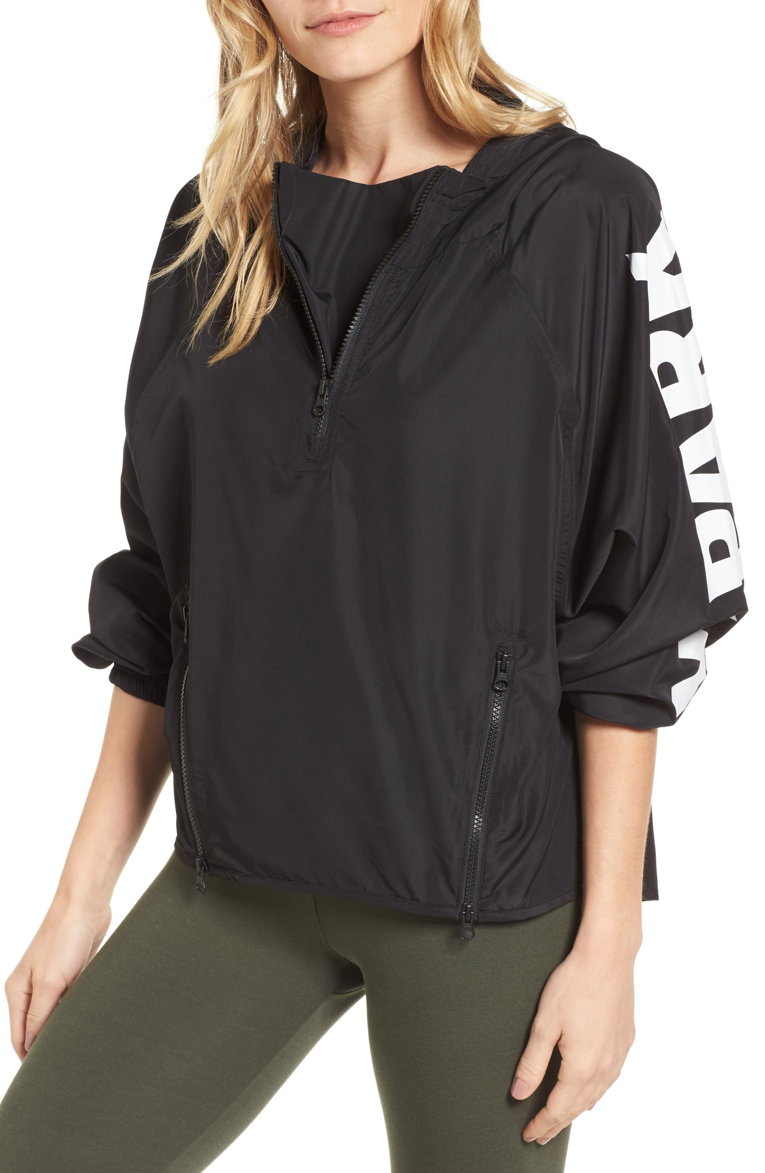 Quarter Zip Hooded Jacket,                             Main thumbnail 1, color,                             Black
