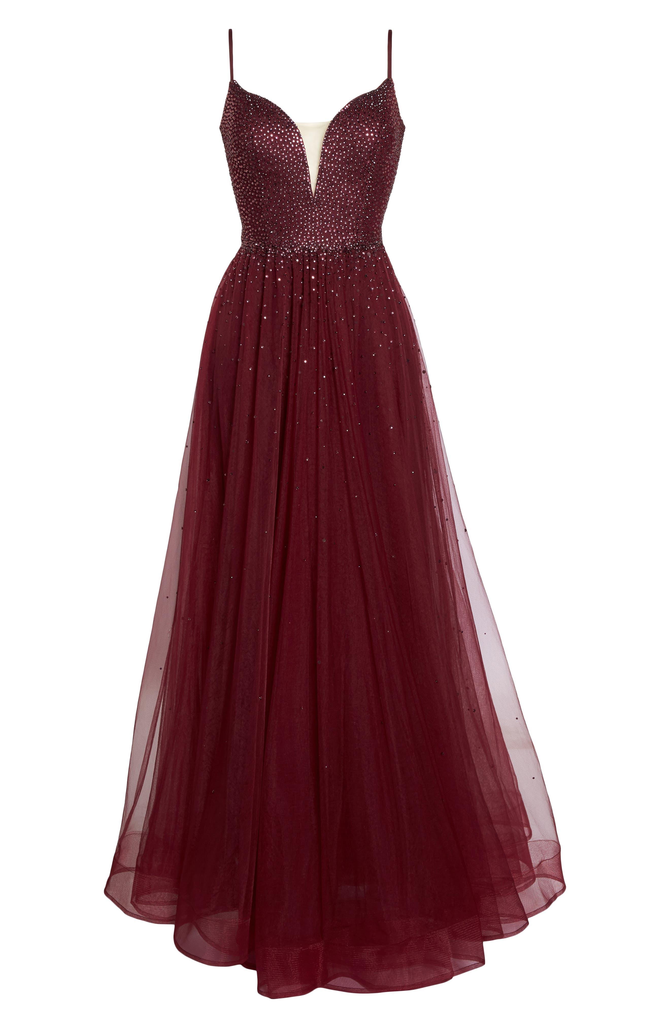 Embellished Illusion Plunge Gown,                             Alternate thumbnail 6, color,                             Garnet