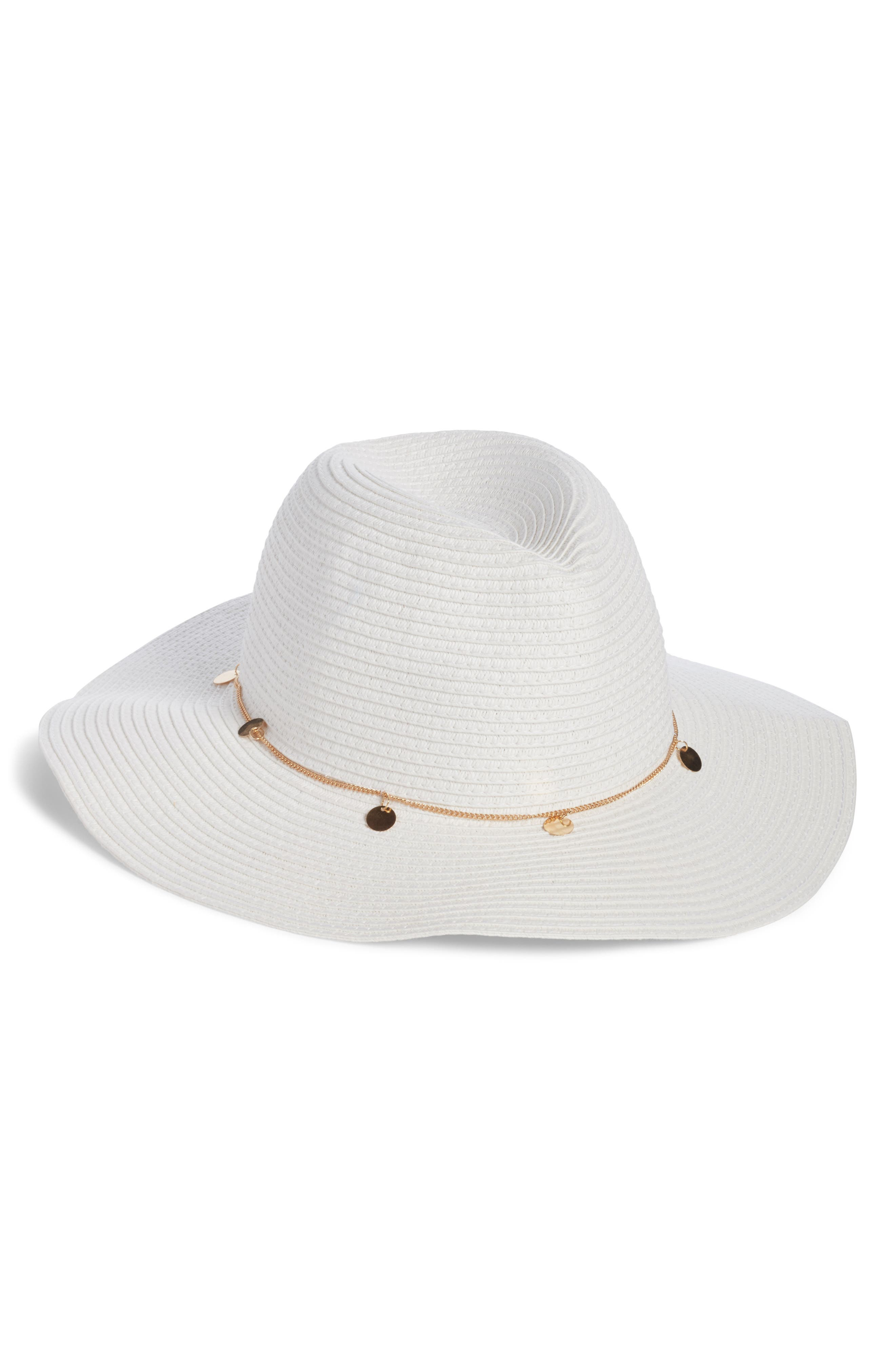 Coin Embellished Straw Fedora,                         Main,                         color, White/ Gold