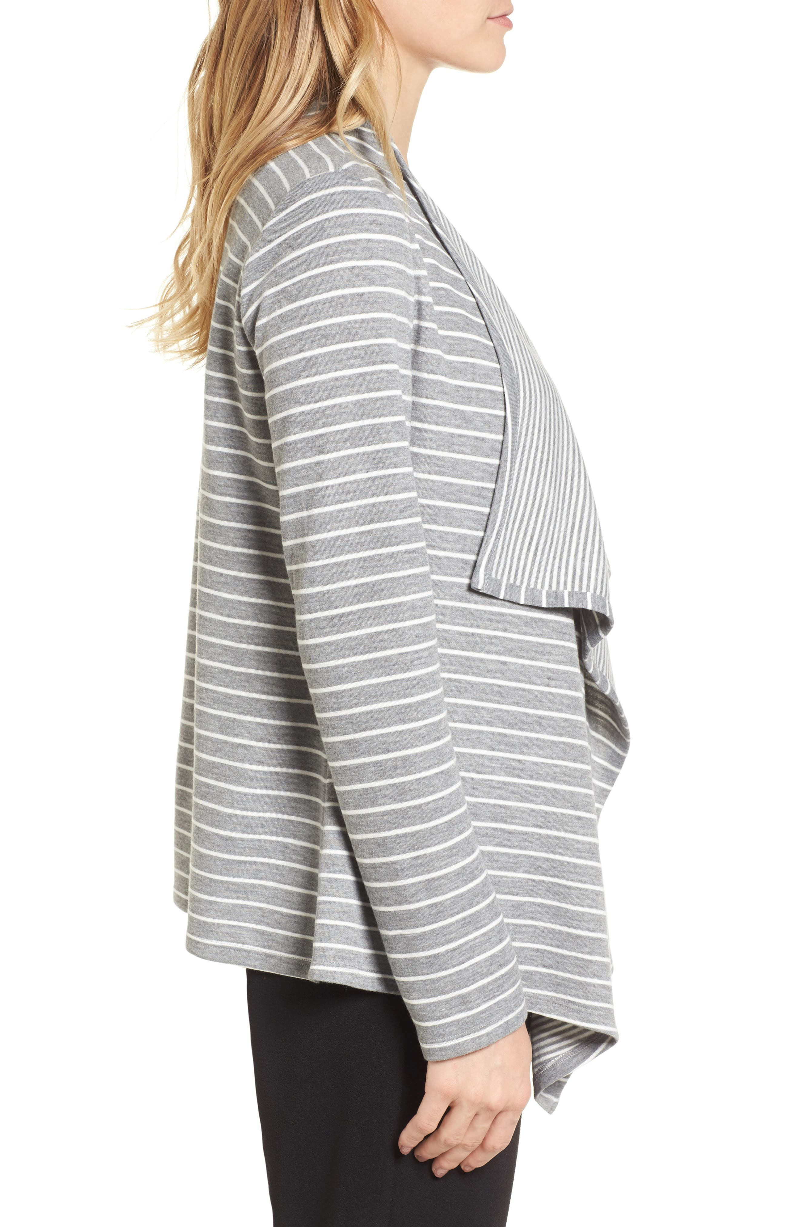Mixed Stripe Cardigan,                             Alternate thumbnail 3, color,                             050-Grey Heather
