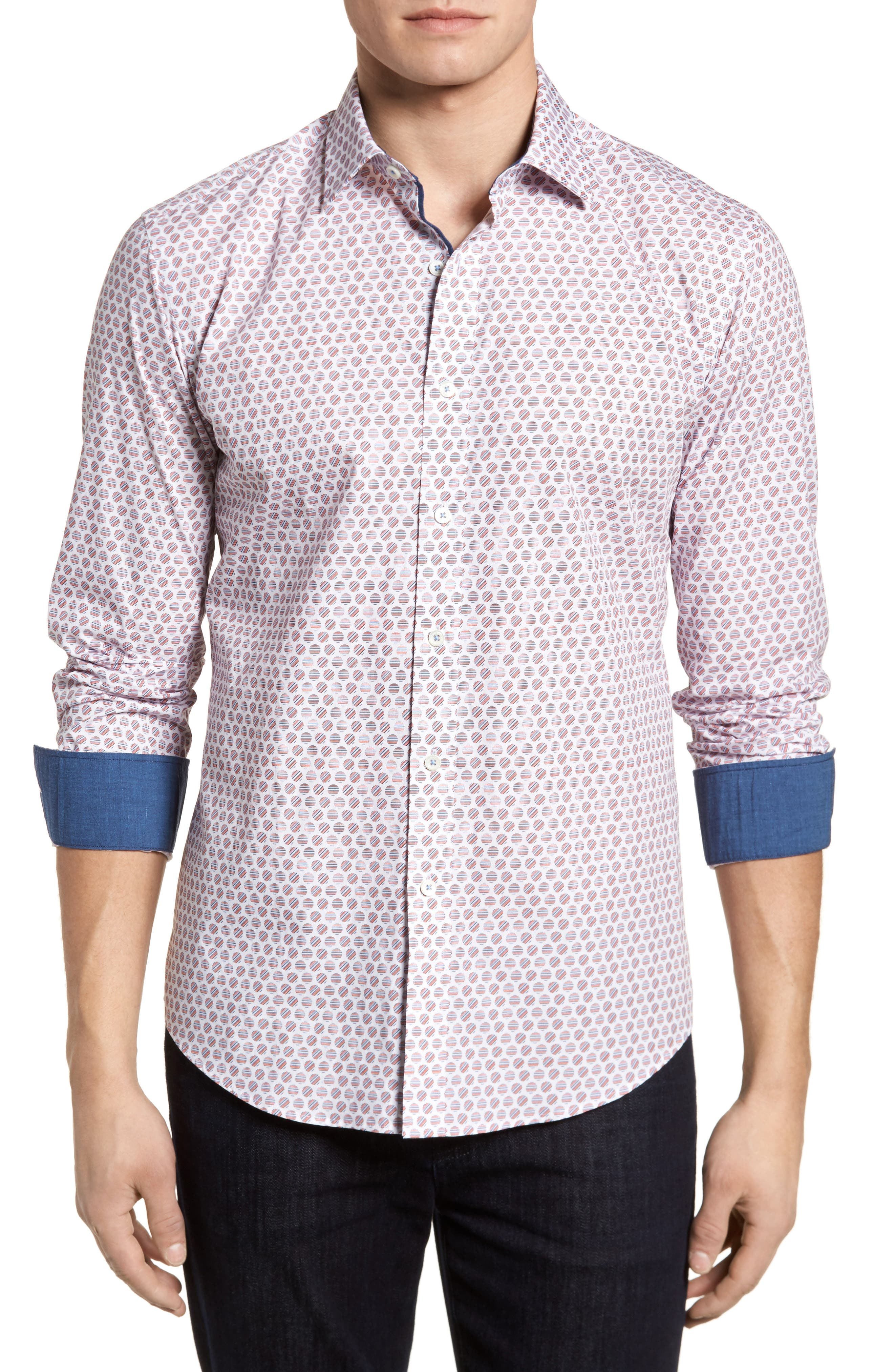 Slim Fit Circle Print Sport Shirt,                             Main thumbnail 1, color,                             Pimento
