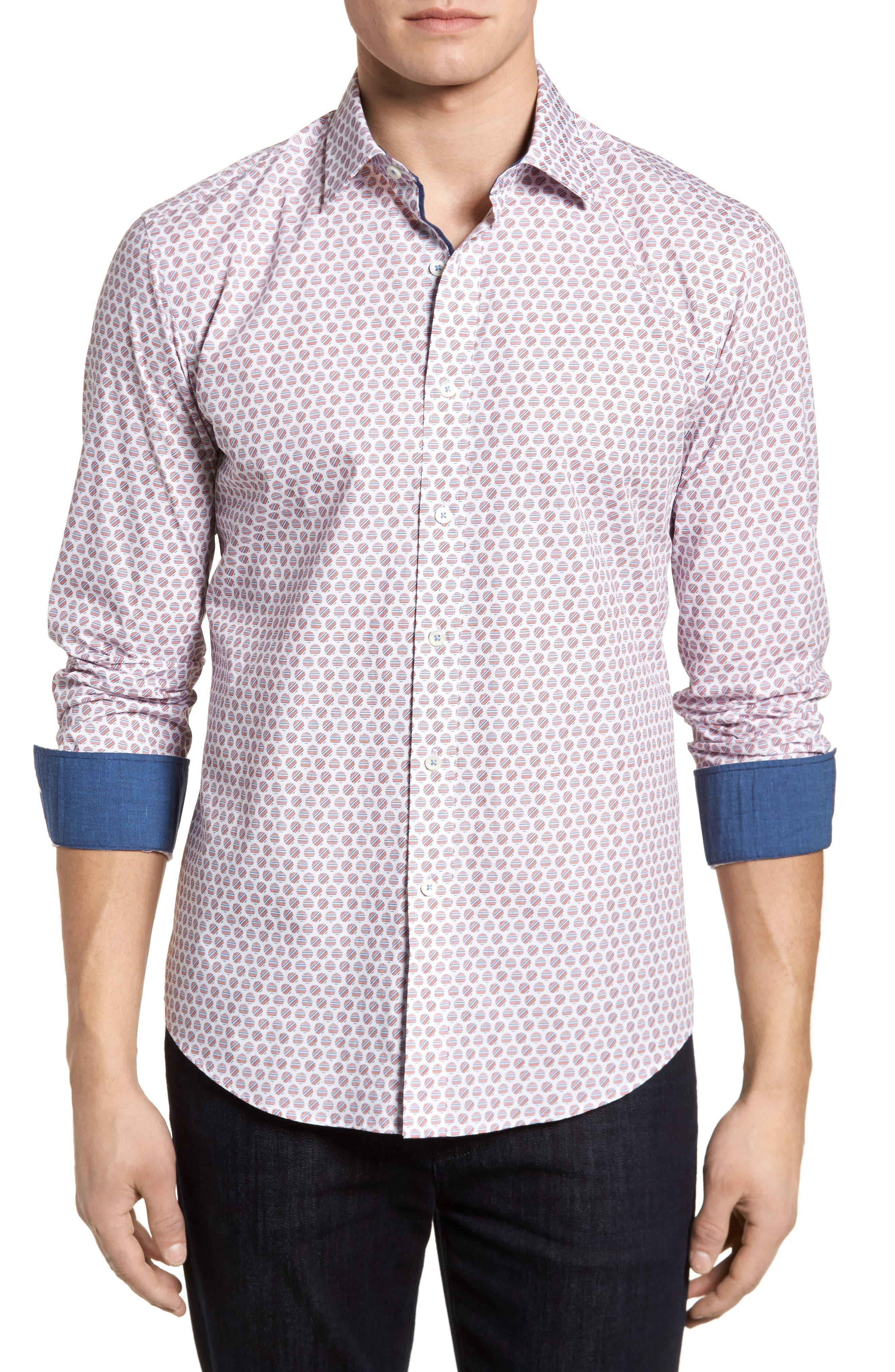 Slim Fit Circle Print Sport Shirt,                         Main,                         color, Pimento