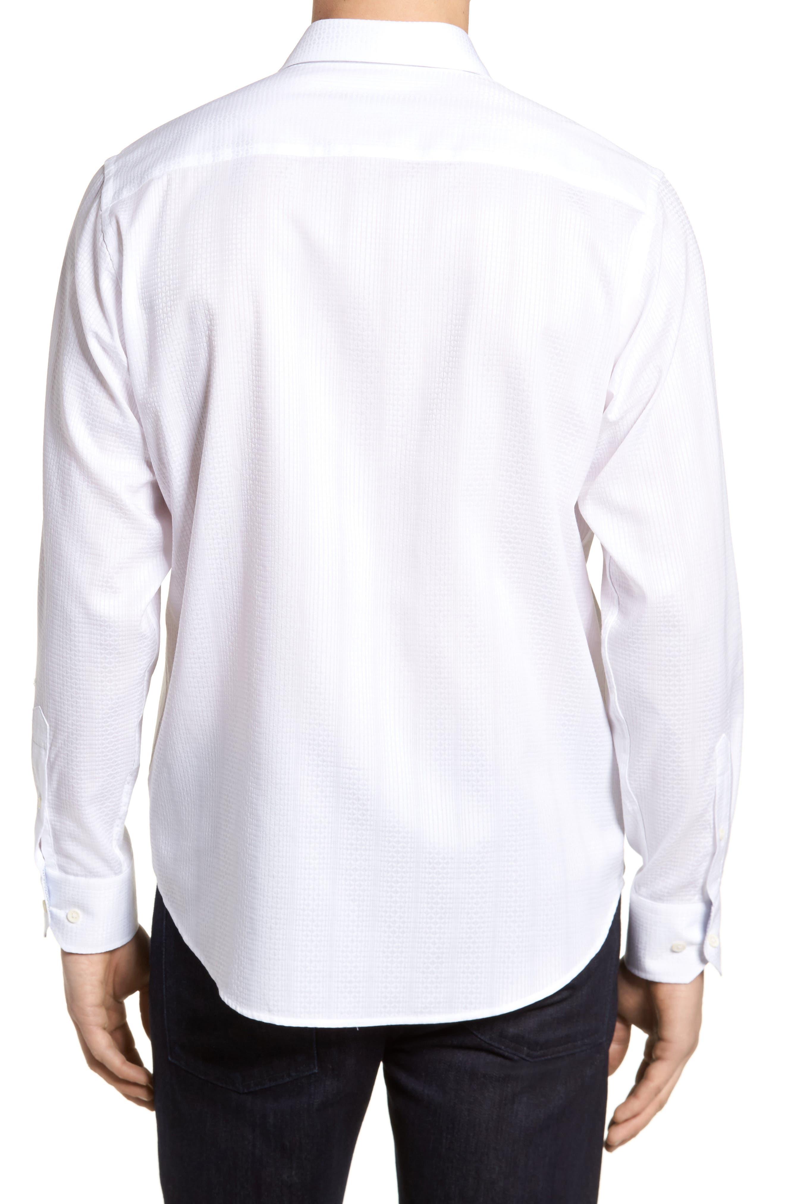 Tonal Diamond Jacquard Classic Fit Sport Shirt,                             Alternate thumbnail 2, color,                             White