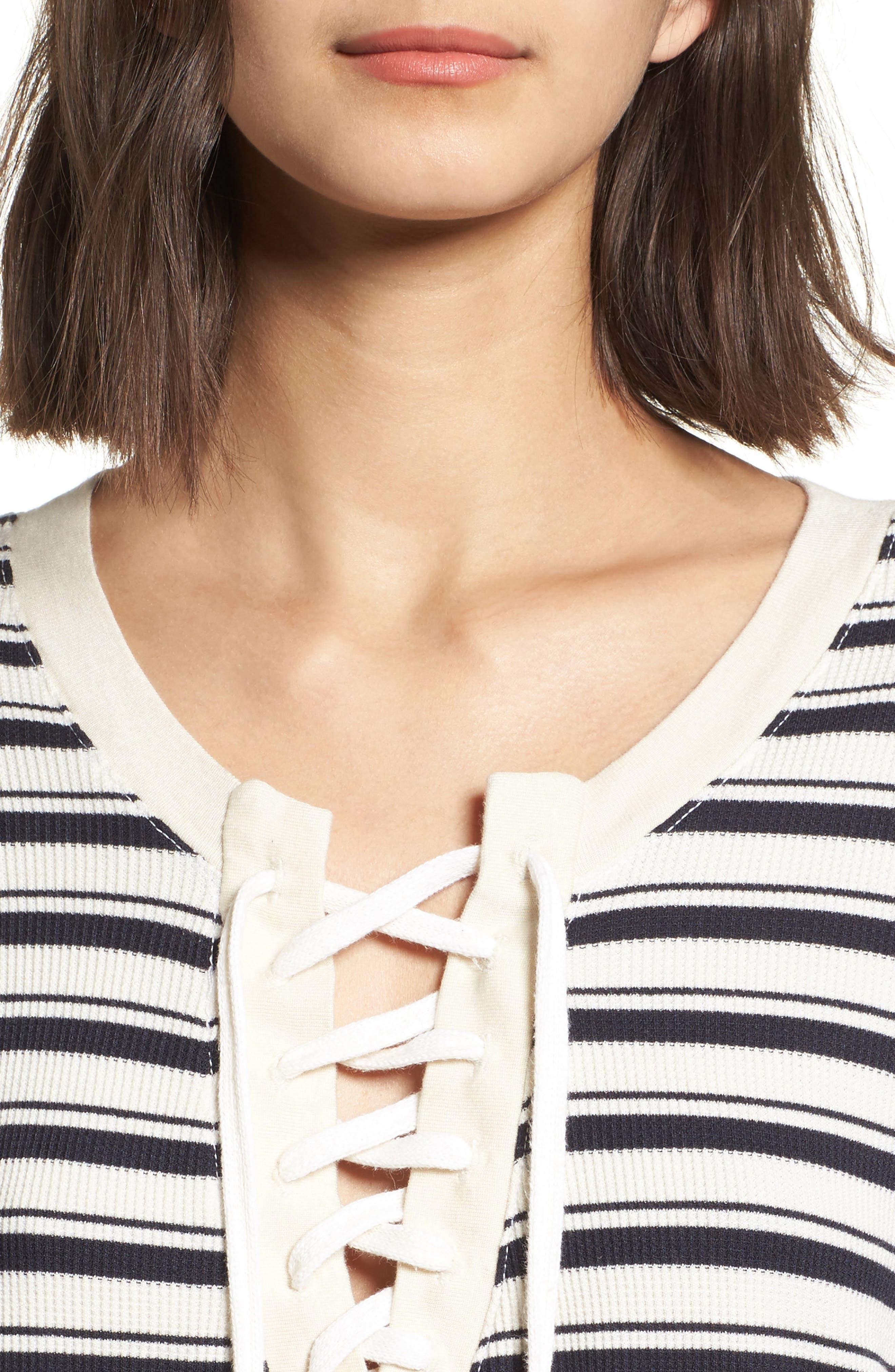 Alternate Image 4  - Splendid Stripe Lace-Up Tee