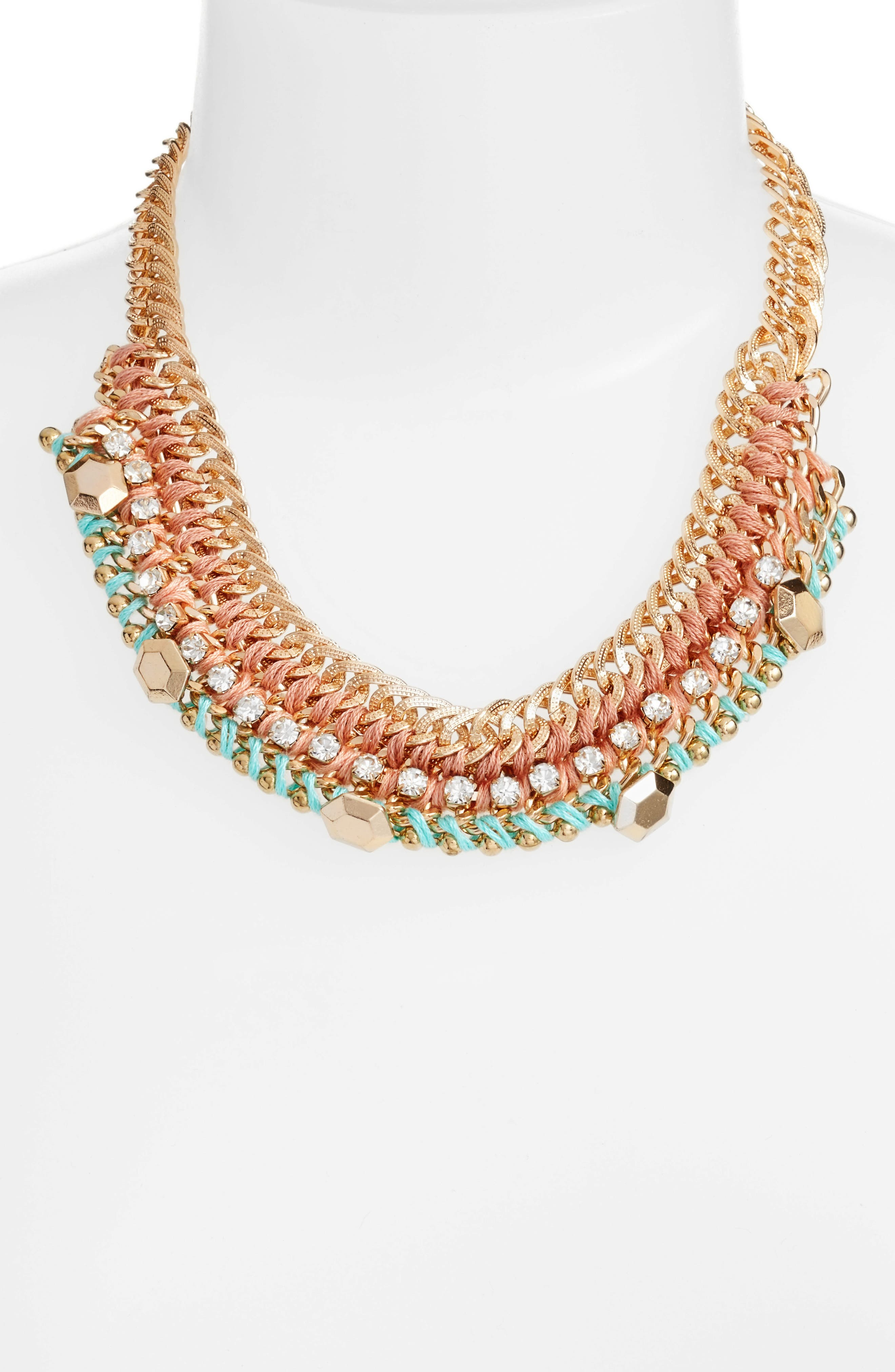 Braided Chain Necklace,                             Alternate thumbnail 2, color,                             Pink/ Mint
