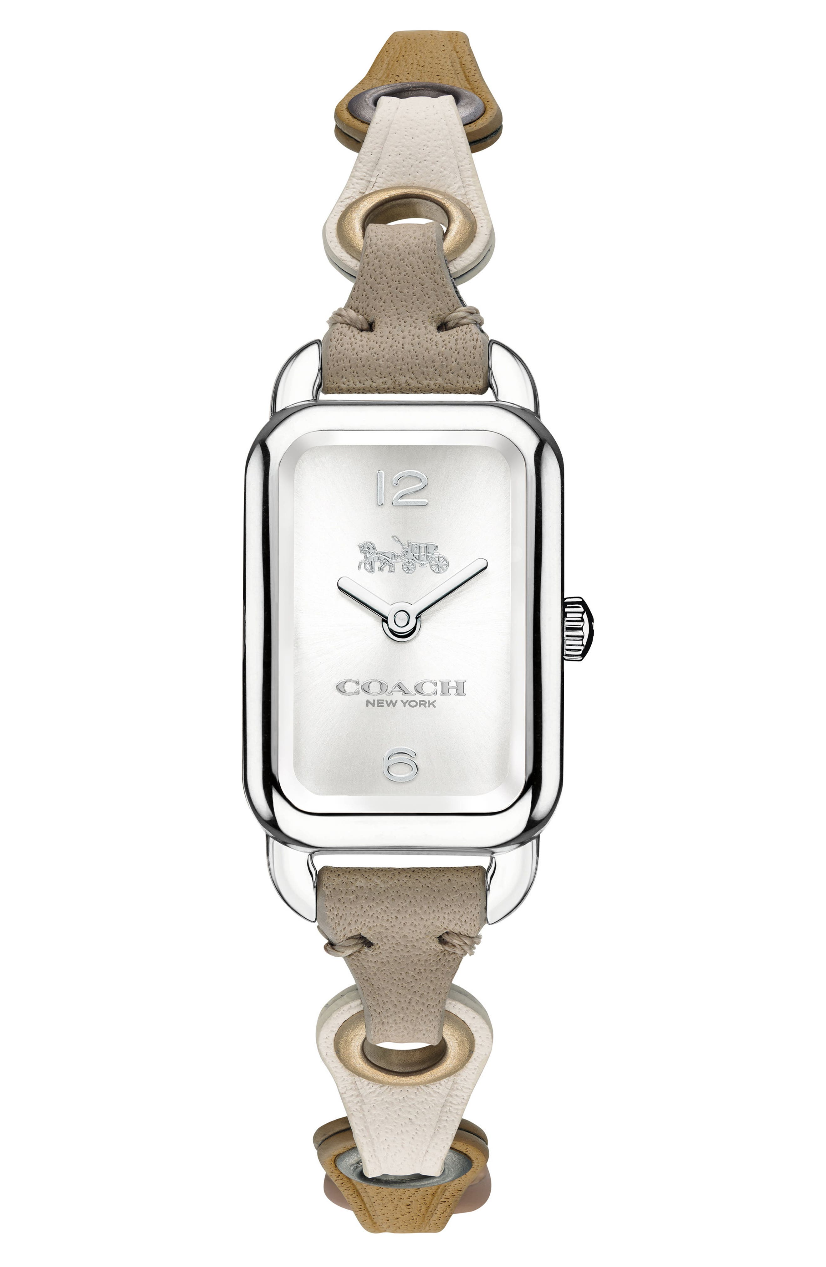Ludlow Rectangular Leather Strap Watch, 17mm,                             Main thumbnail 1, color,                             Taupe/ Silver