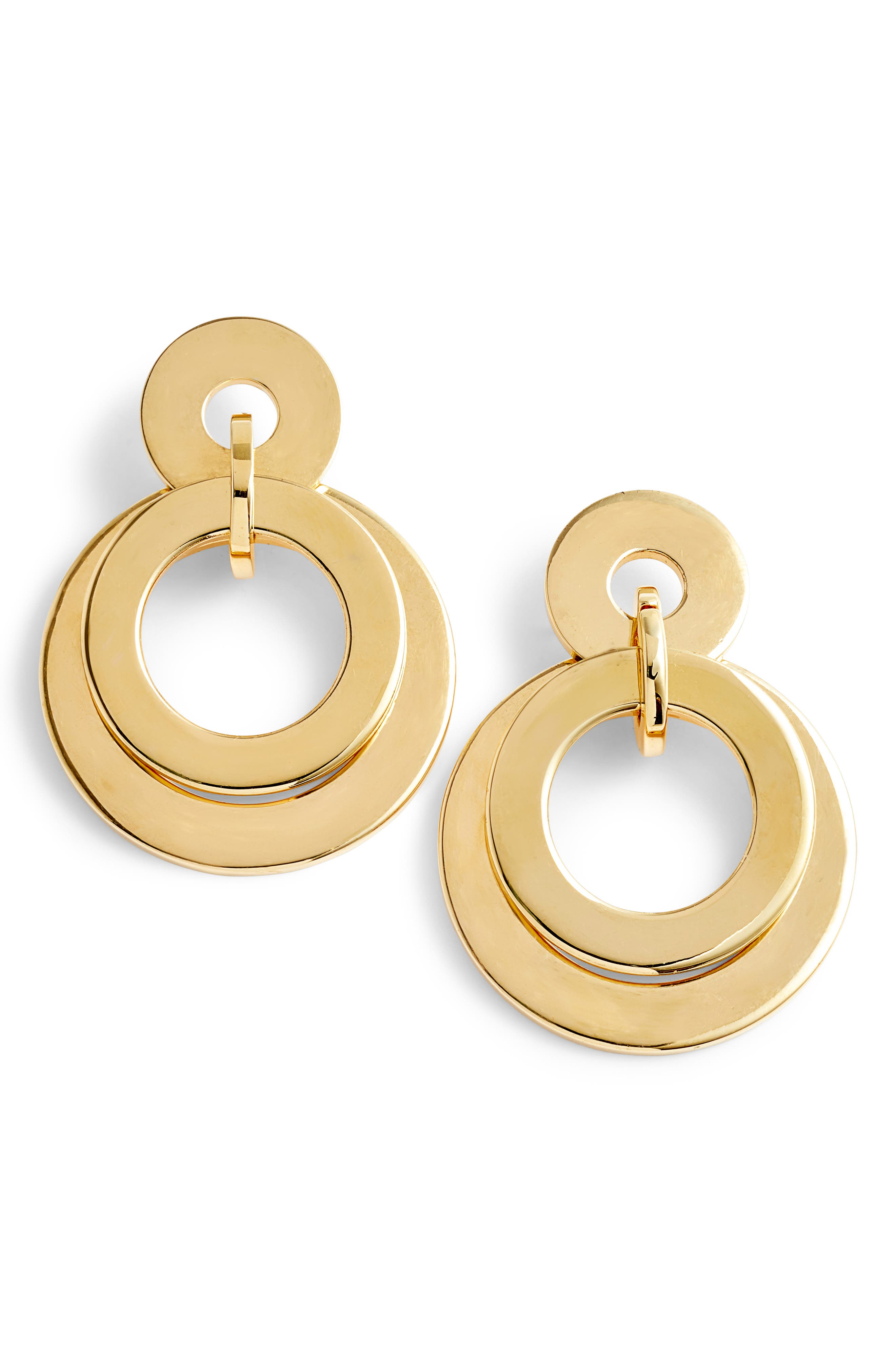 Stacked Disc Frontal Hoop Earrings,                             Main thumbnail 1, color,                             Gold