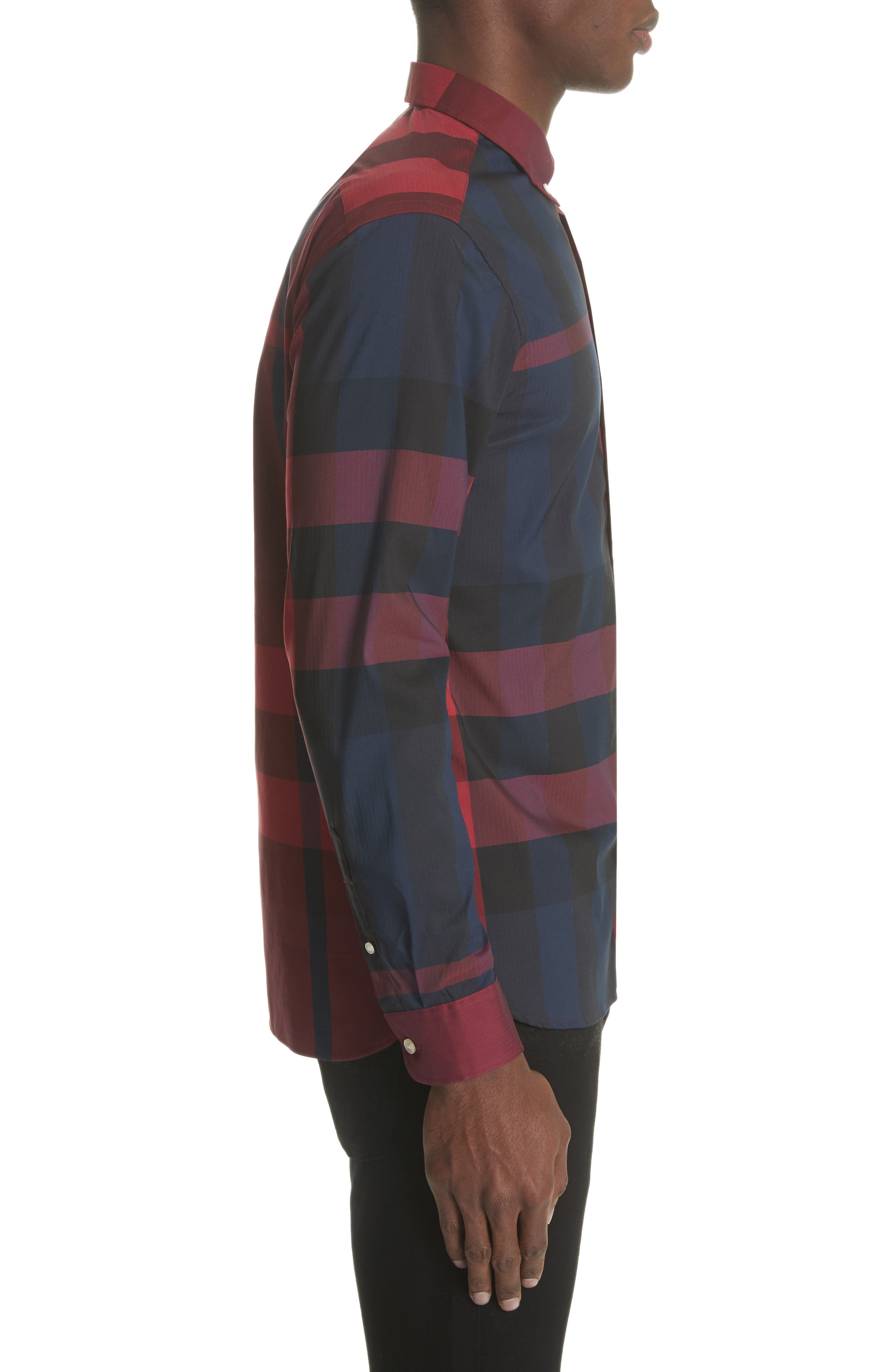 Thornaby Regular Fit Plaid Sport Shirt,                             Alternate thumbnail 4, color,                             Bright Red