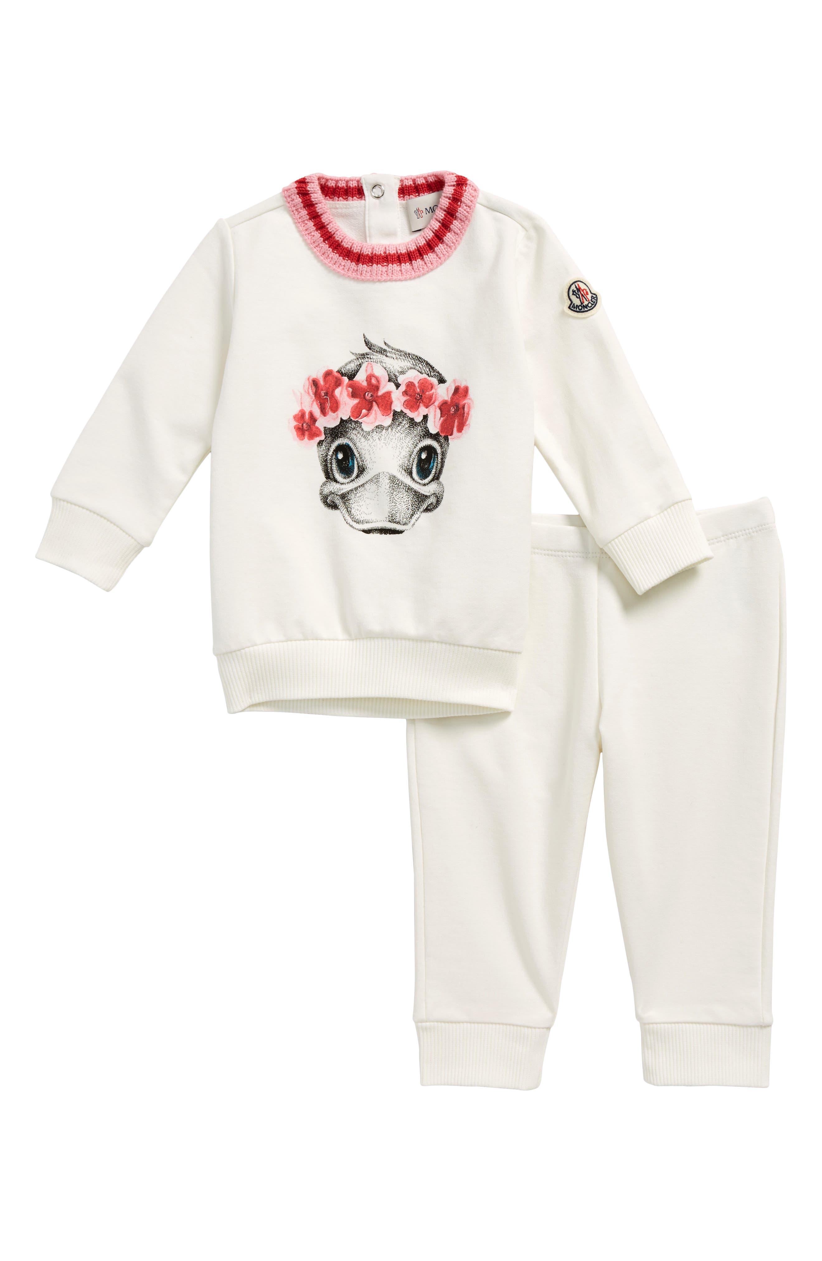 Main Image - Moncler Duck Print Sweater & Pants Set (Baby Girls)