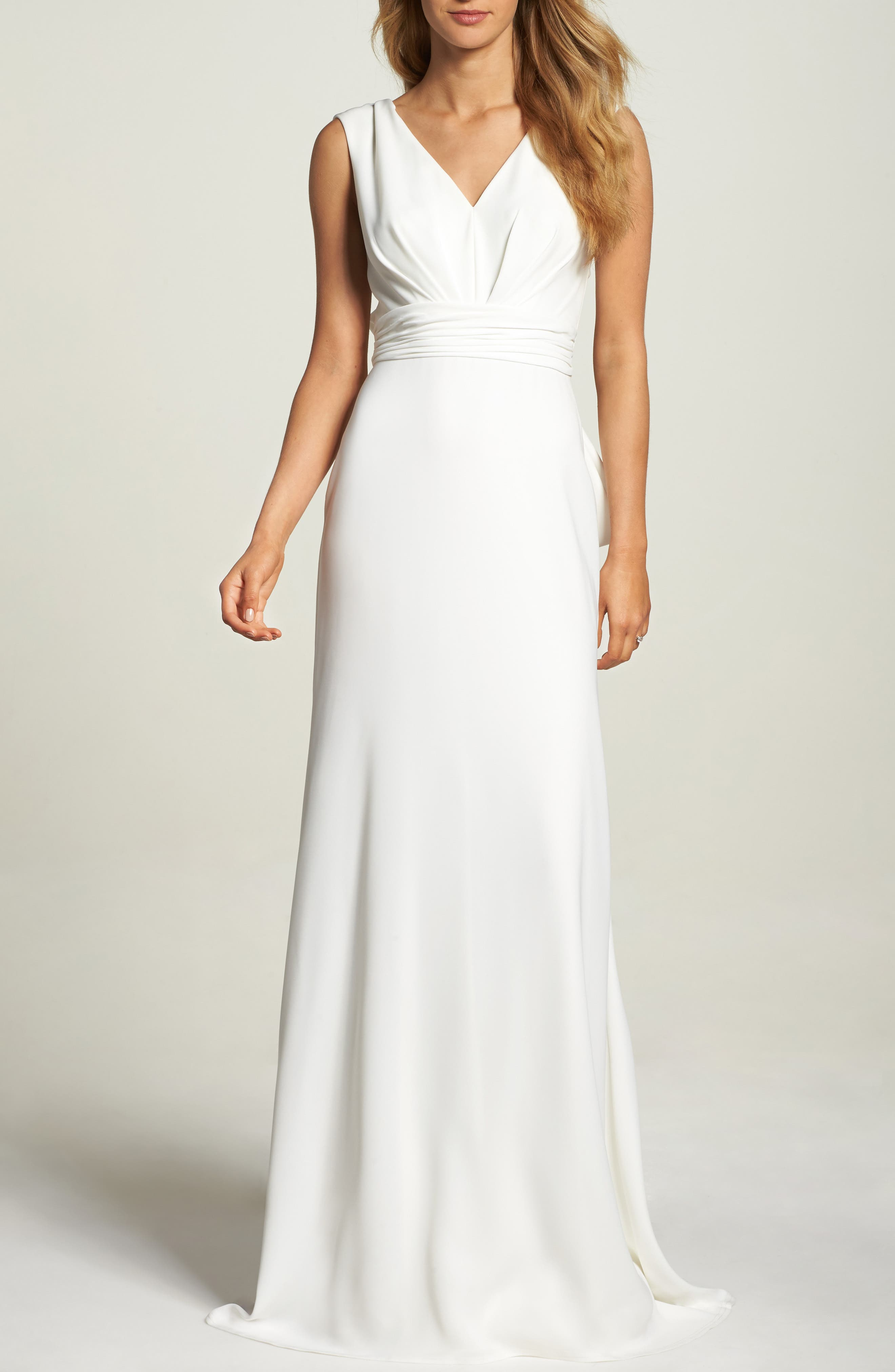 Statement Bow Crepe Gown,                             Main thumbnail 1, color,                             Ivory