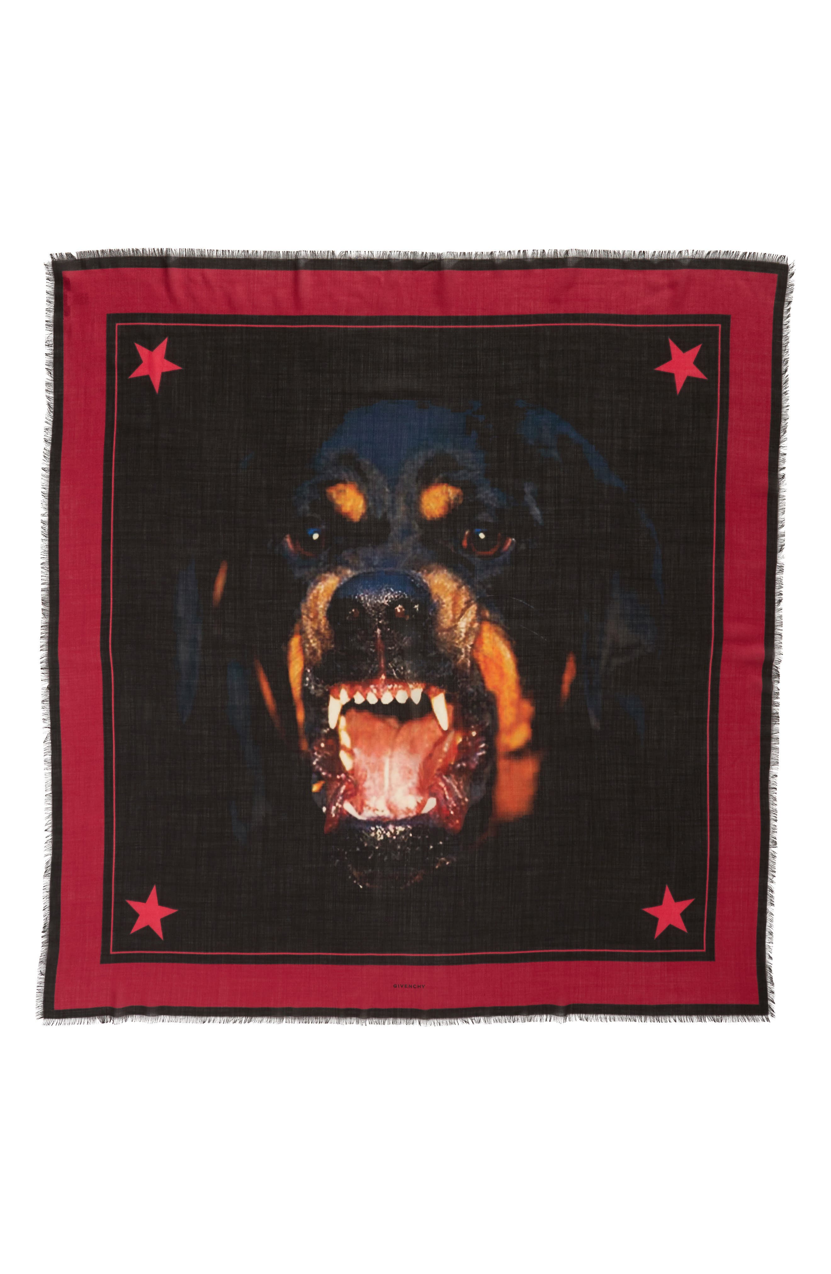 Rottweiler Wool & Silk Square Scarf,                             Main thumbnail 1, color,                             Black