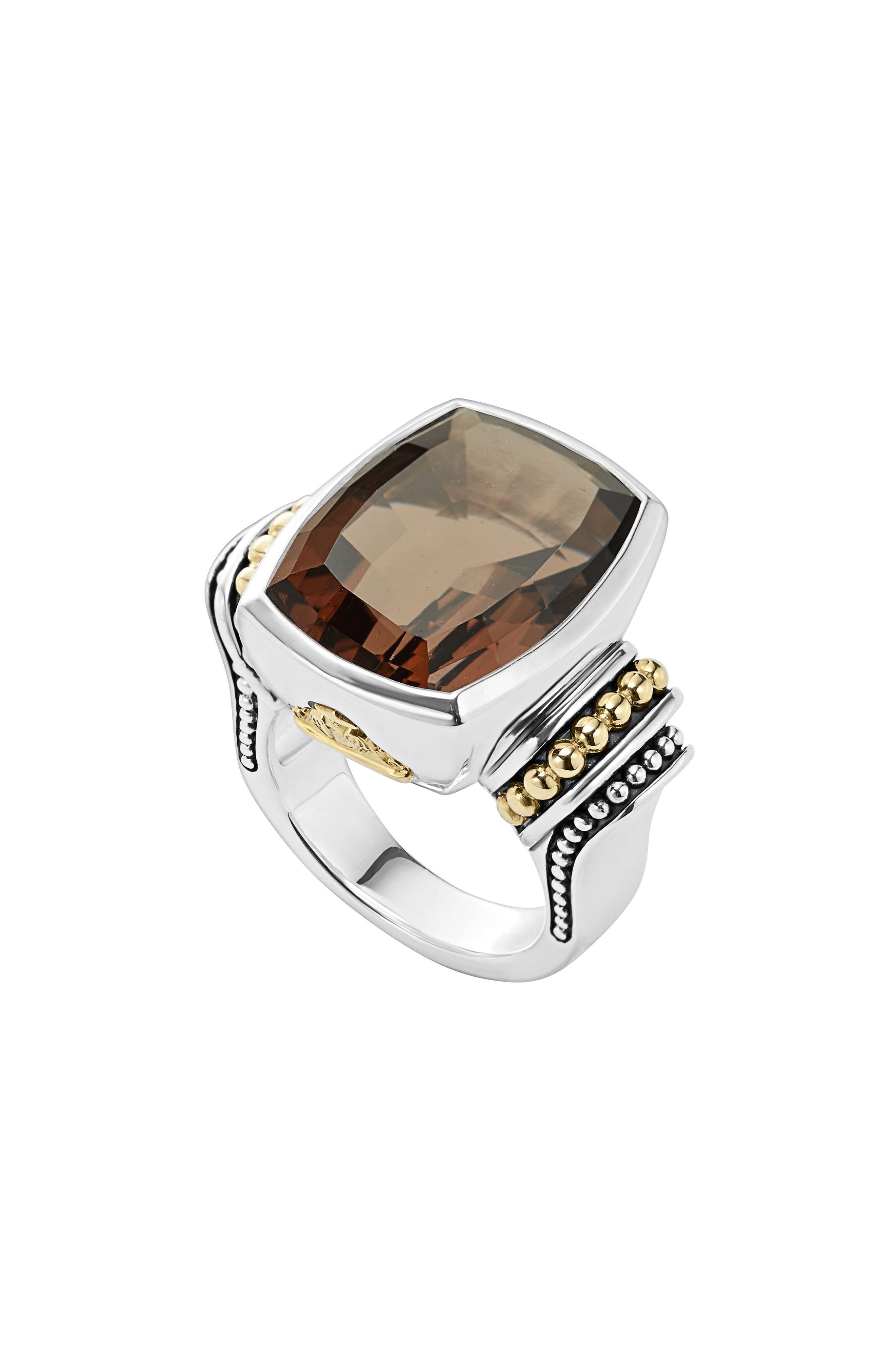 'Caviar Color' Large Semiprecious Stone Ring,                         Main,                         color, Smokey Quartz