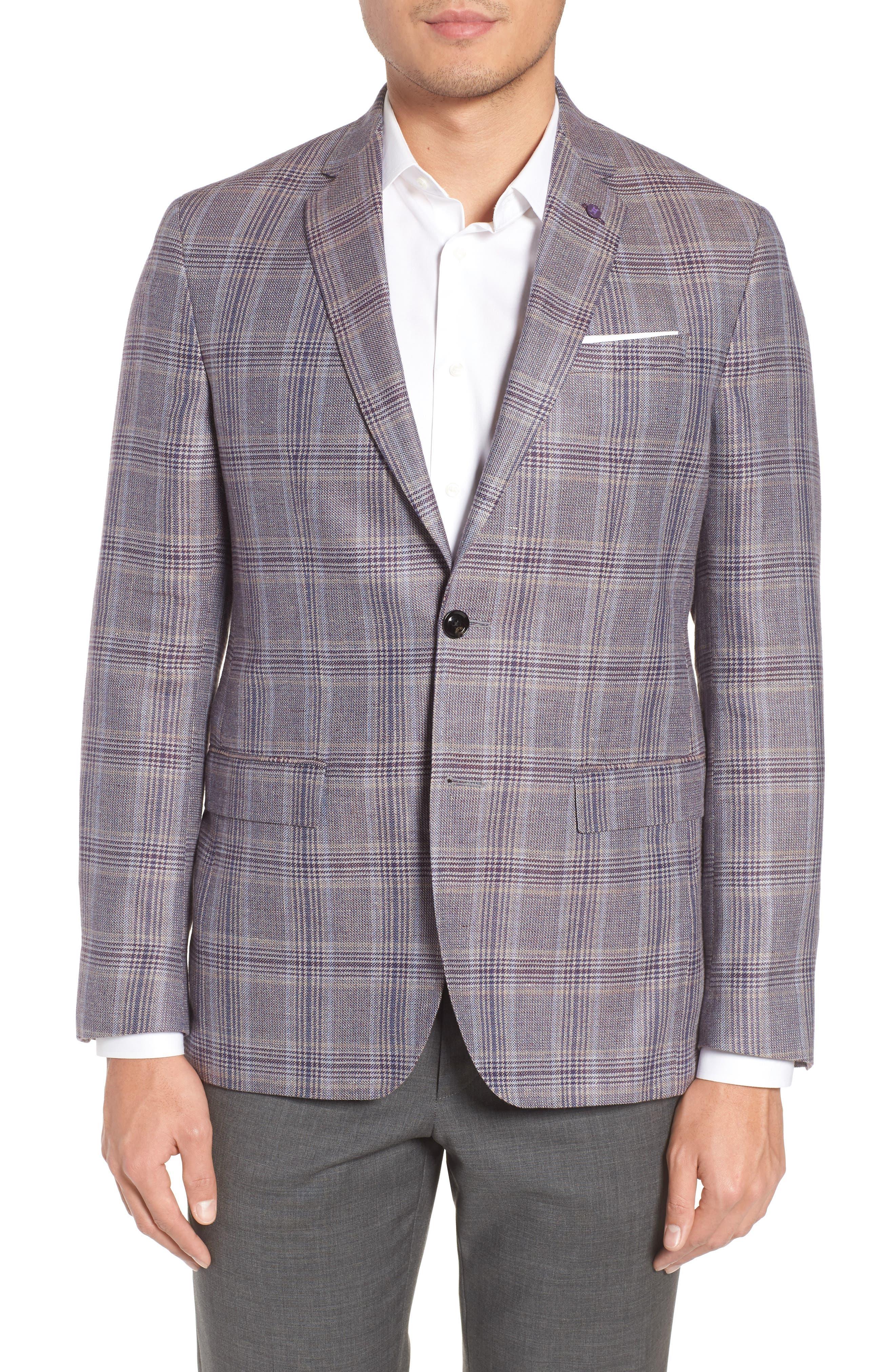 Ted Baker London Konan Trim Fit Plaid Linen & Wool Sport Coat