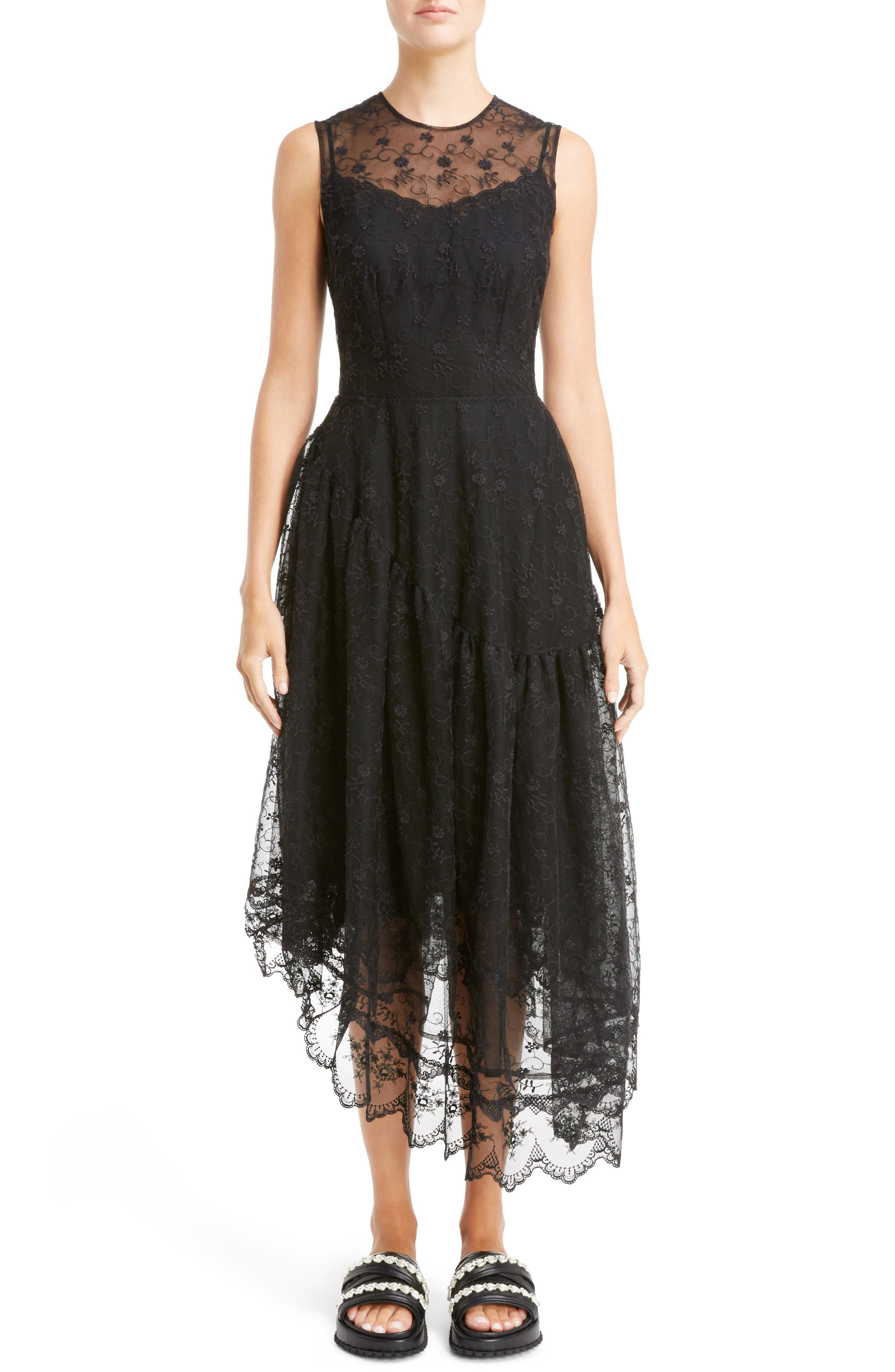 Asymmetrical Embroidered Tulle Dress,                         Main,                         color, Black
