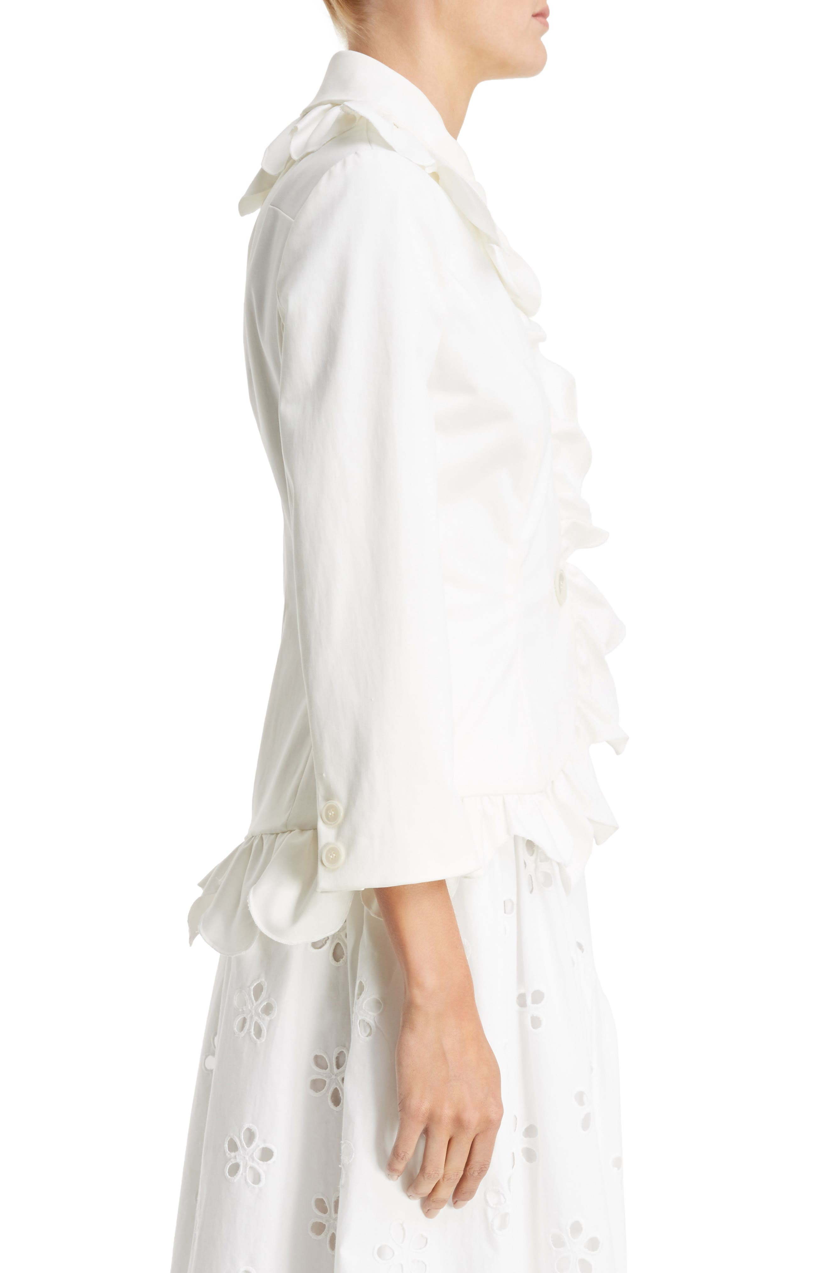 Scallop Frill Fitted Jacket,                             Alternate thumbnail 3, color,                             Ivory