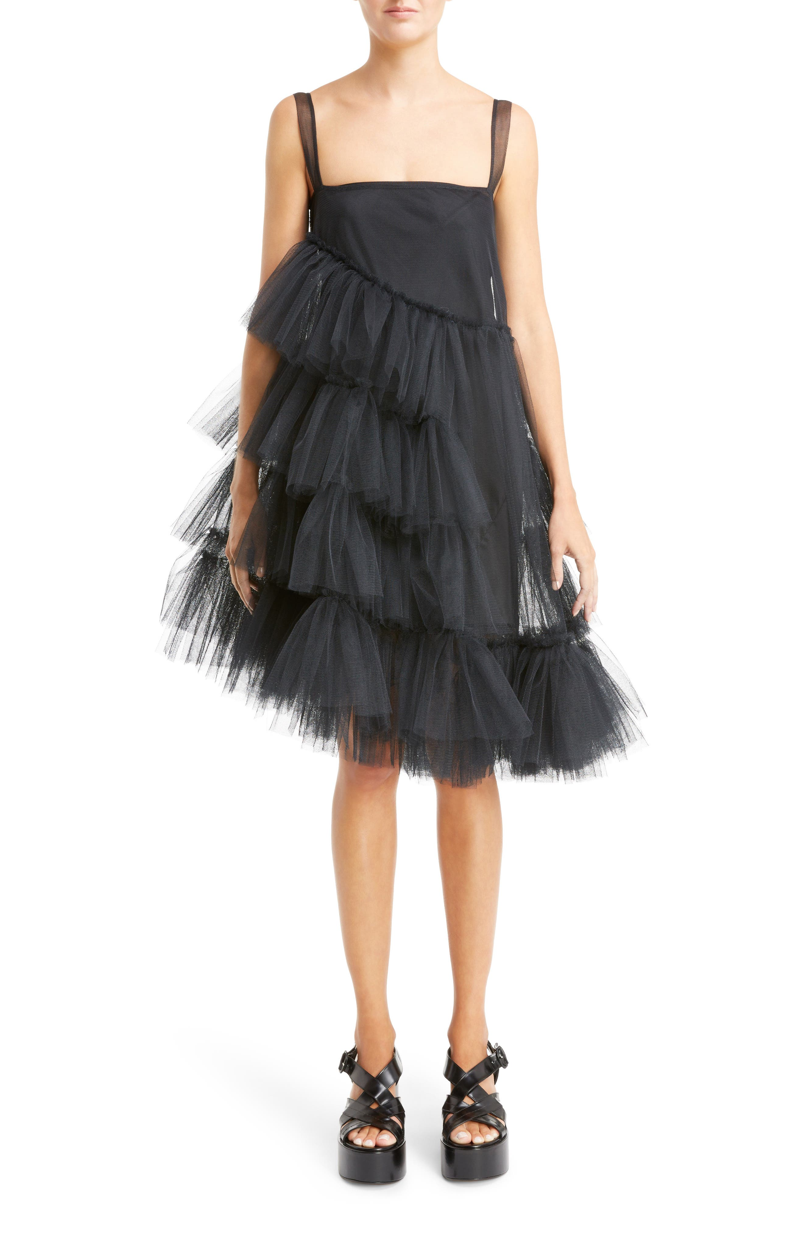 Turbo Tiered Tulle Dress,                             Main thumbnail 1, color,                             Black