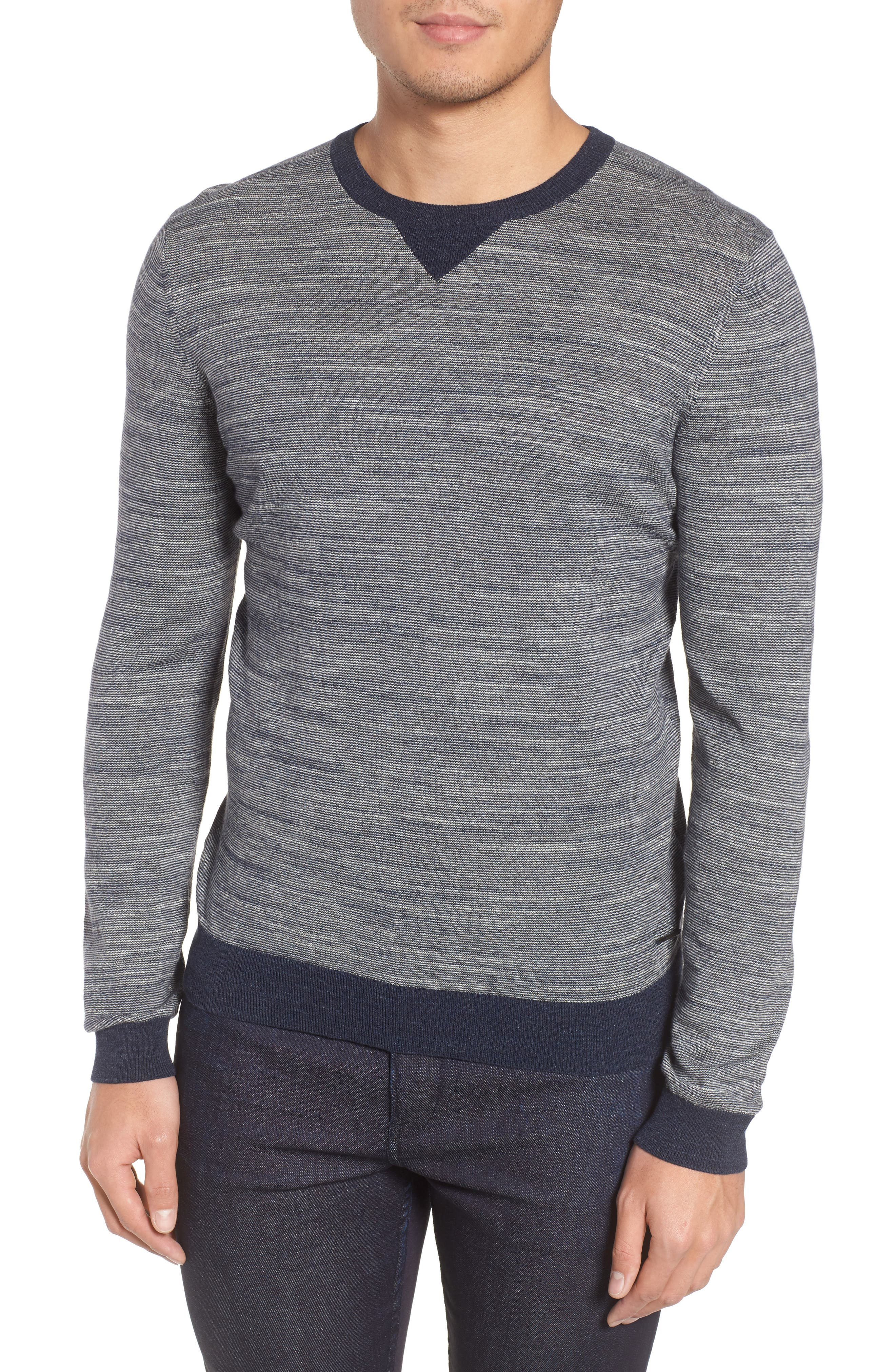 Pintor Slim Fit Fineline Stripe Sweater,                         Main,                         color, Blue